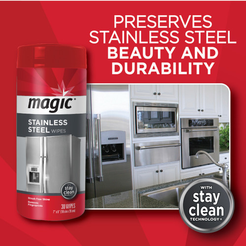 Magic - Stainless Steel Cleaner & Polish (30 Wipes) - Preserves stainless steel beauty and durability