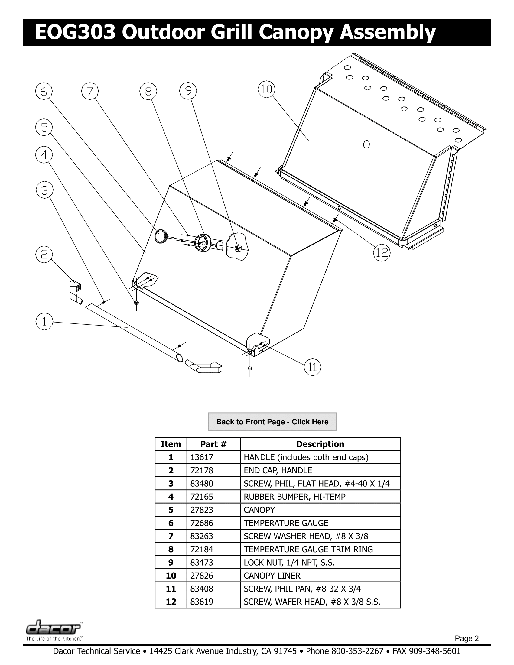 Dacor EOG303 Canopy Assembly Schematic
