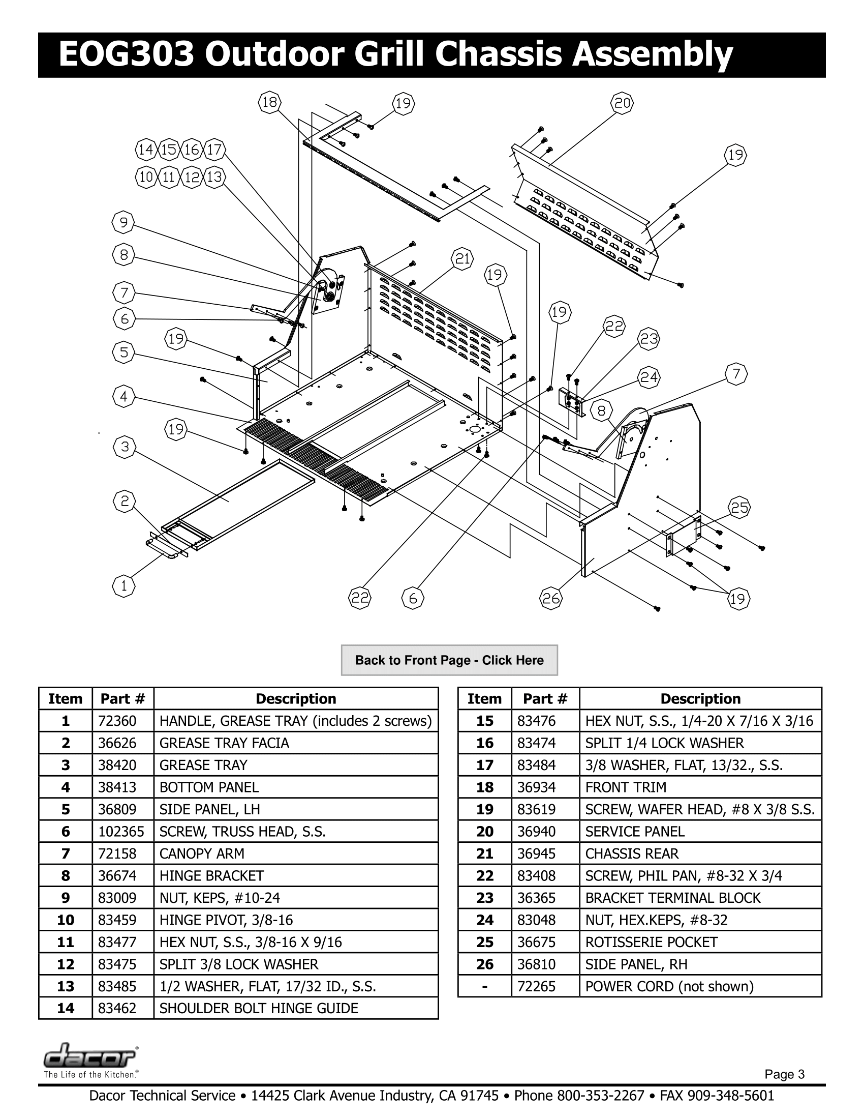 Dacor EOG303 Chassis Assembly Schematic