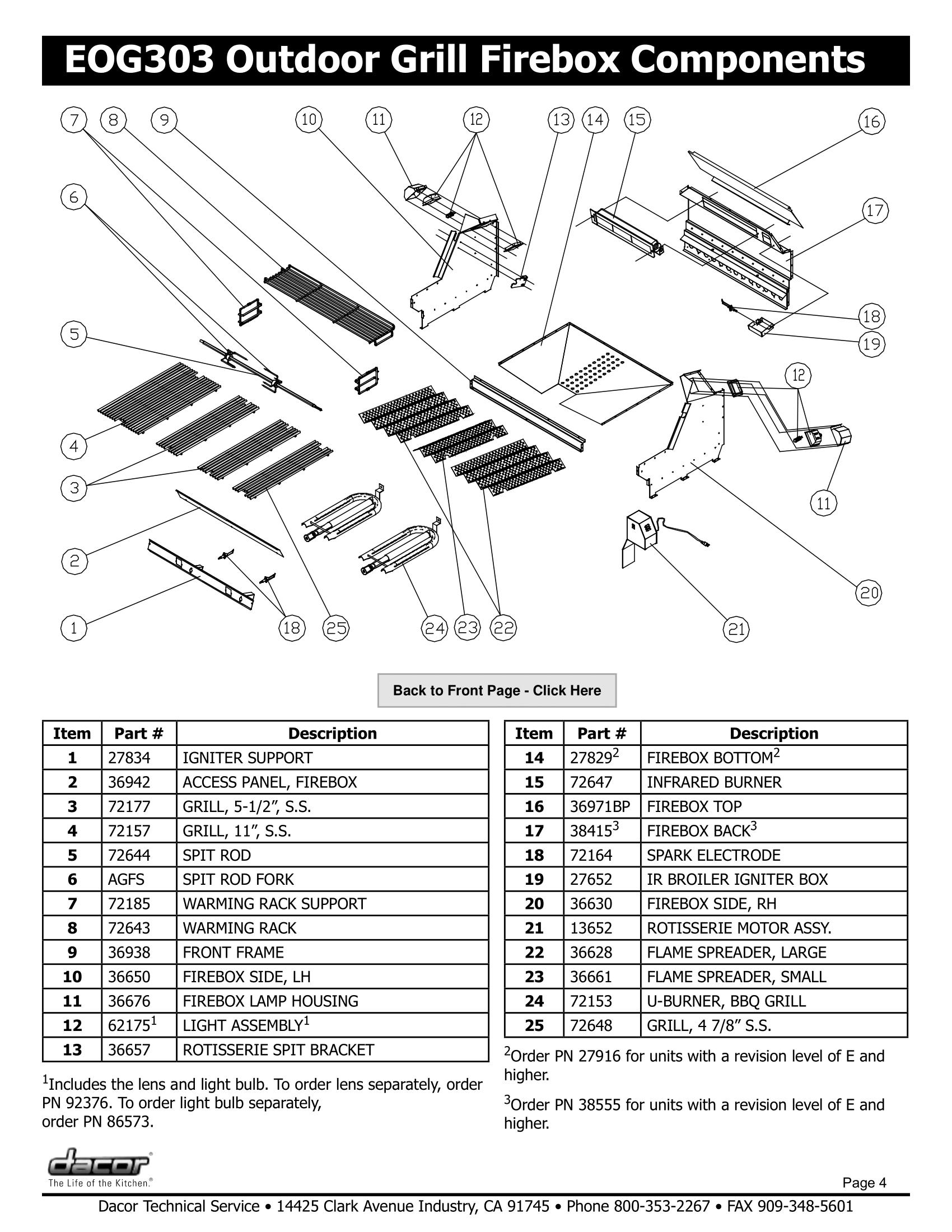Dacor EOG303 Firebox Components Schematic