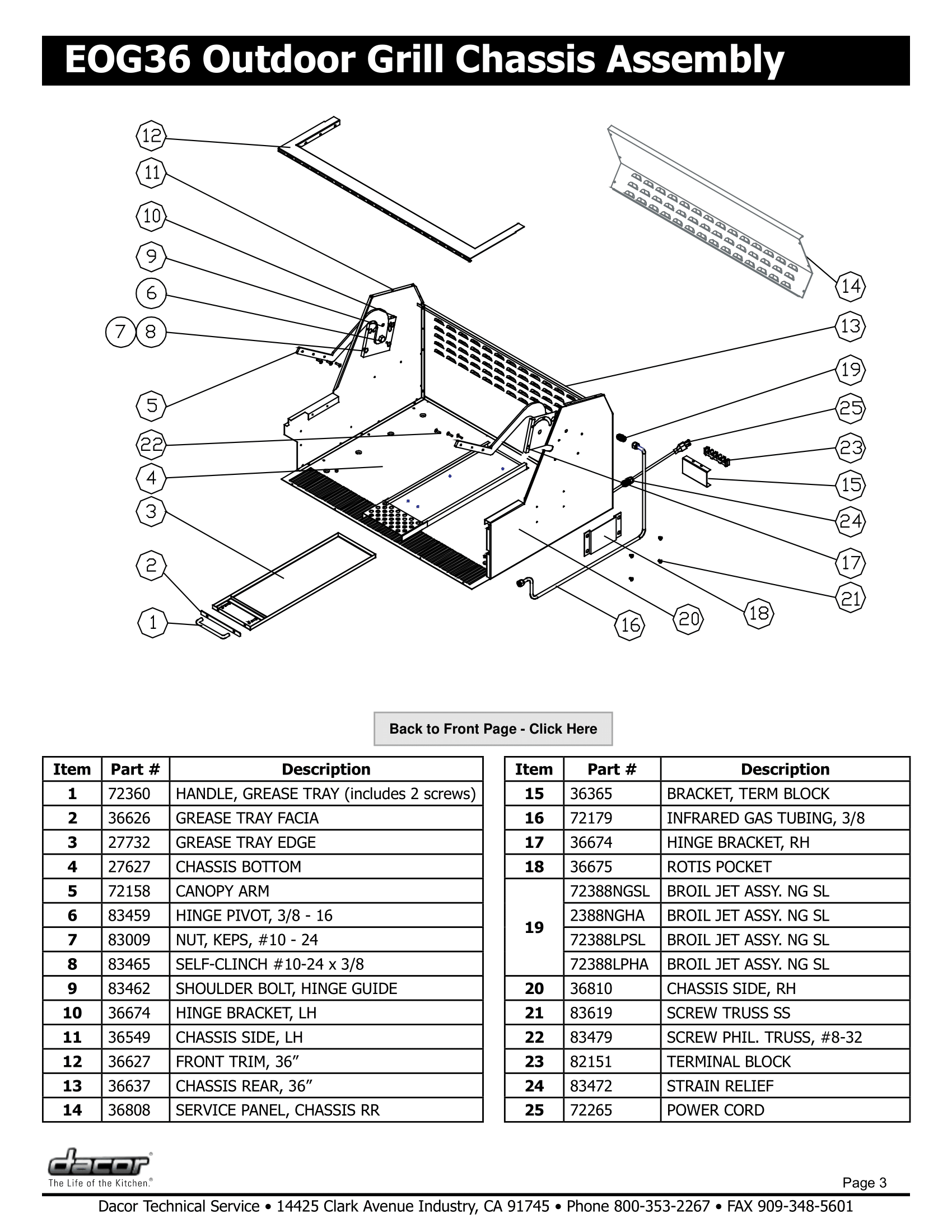Dacor EOG36 Grill Chassis Assembly Schematics