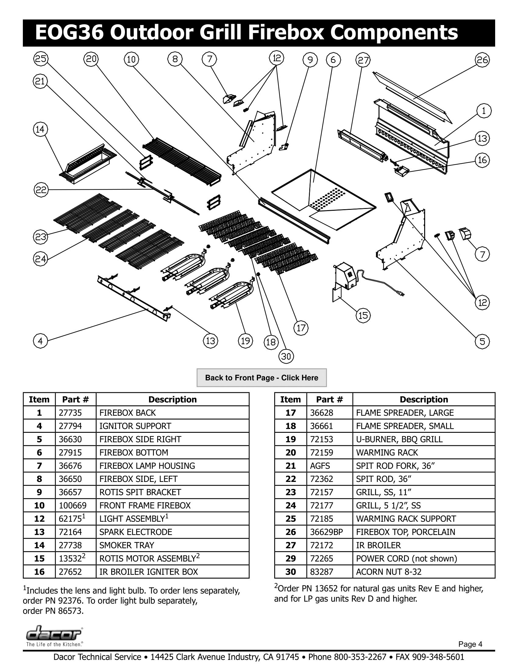 Dacor EOG36 Firebox Components Schematic