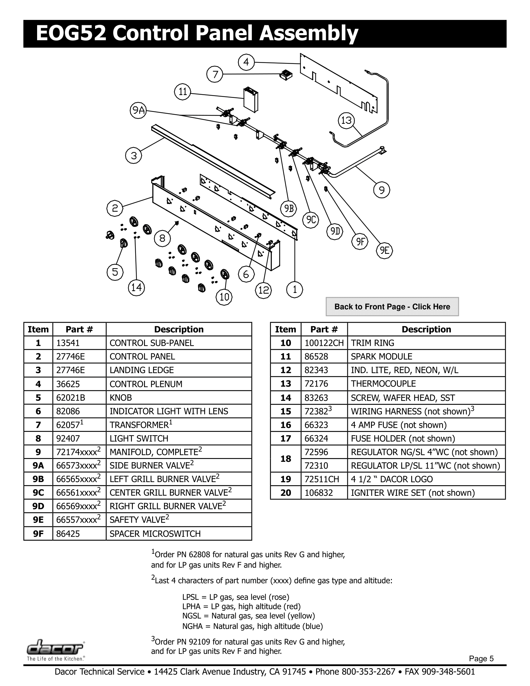 Dacor EOG52 Control Panel Assembly Schematic