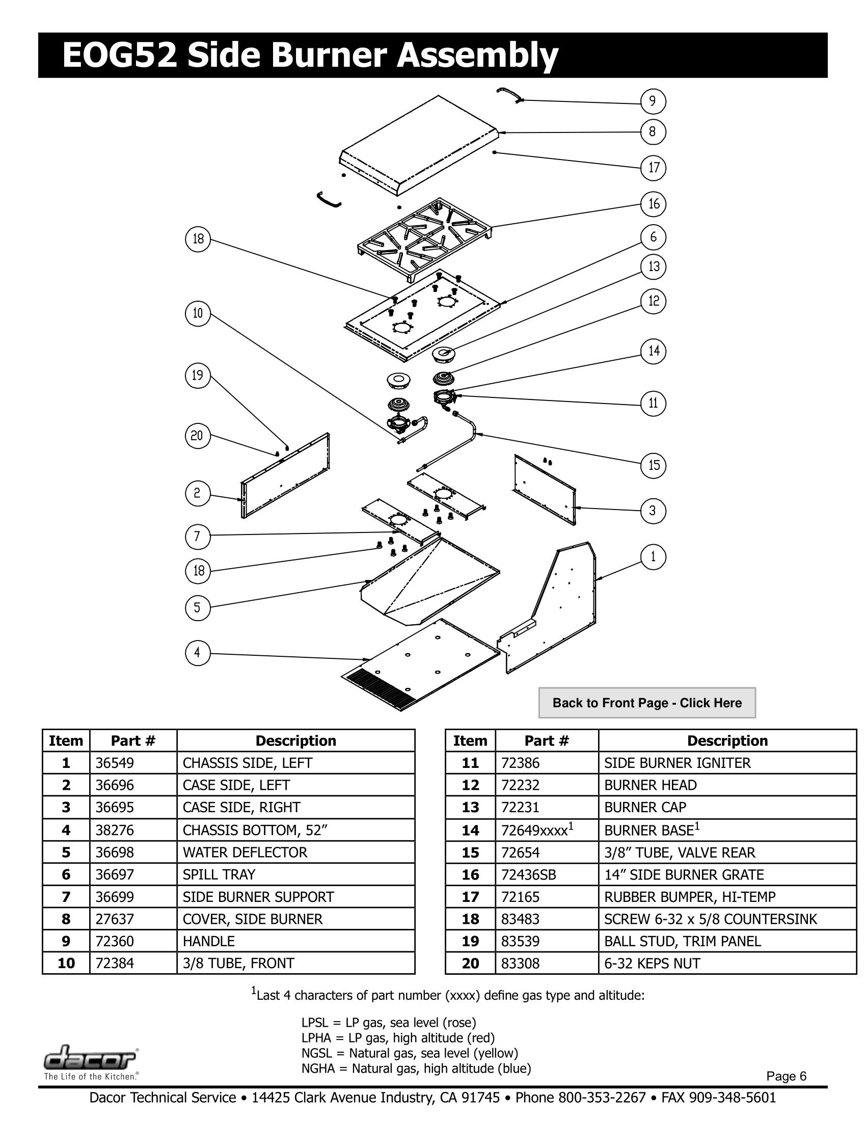 Dacor EOG52 Side Burner Assembly Schematic