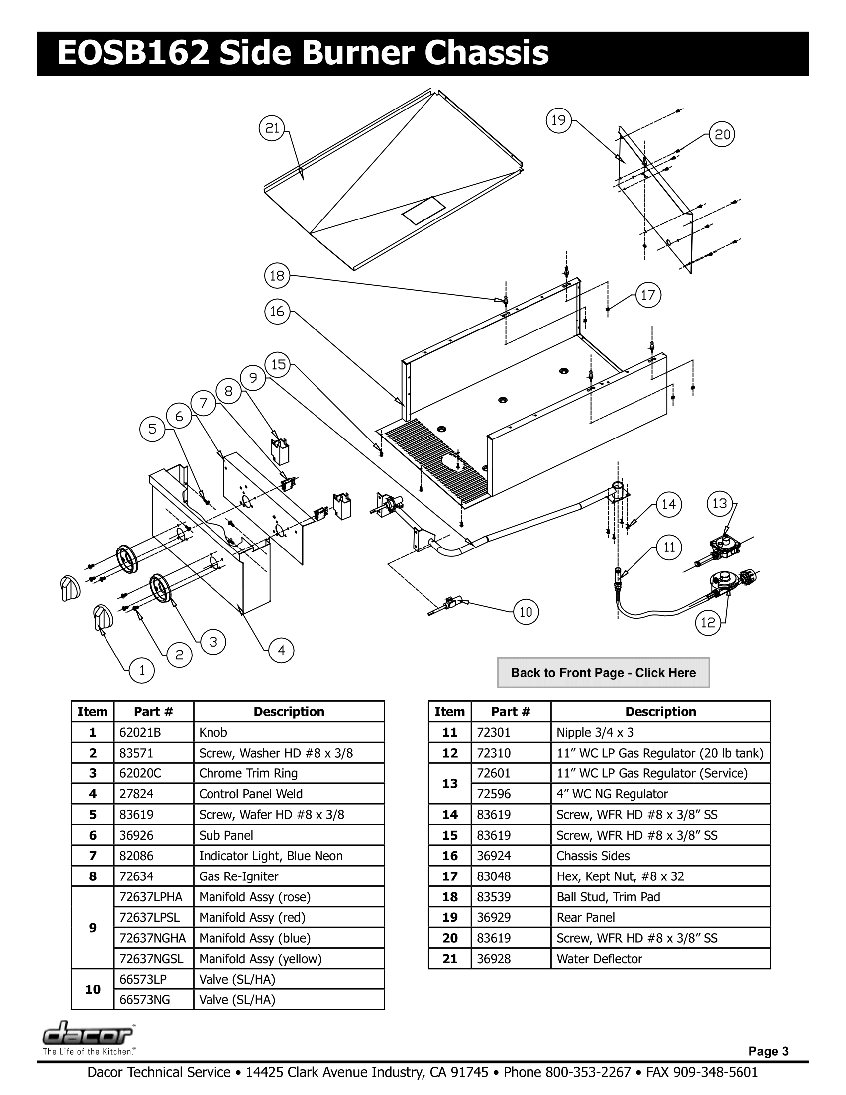 Dacor EOSB162 Side Burner Chassis Schematic