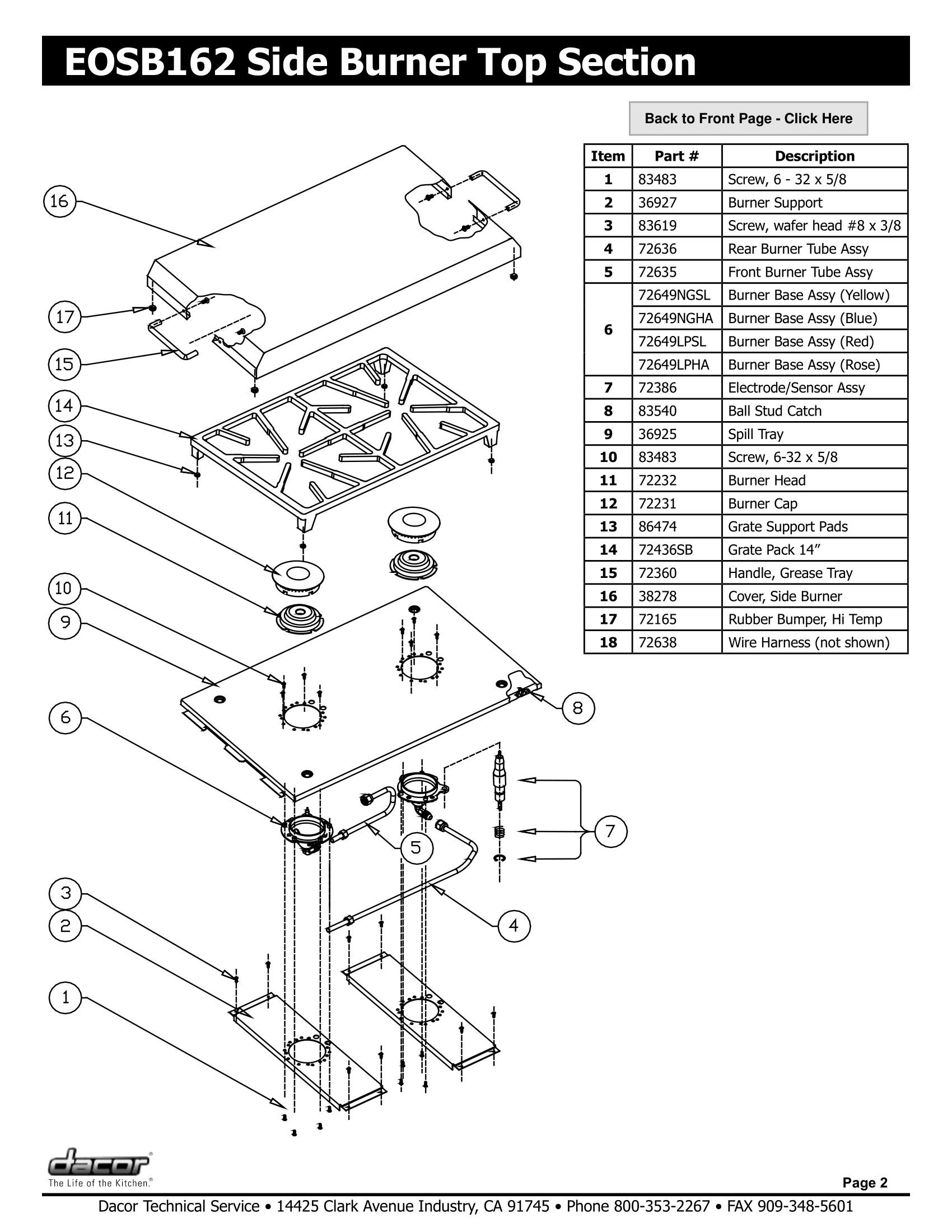 Dacor EOSB162 Top Section Schematic