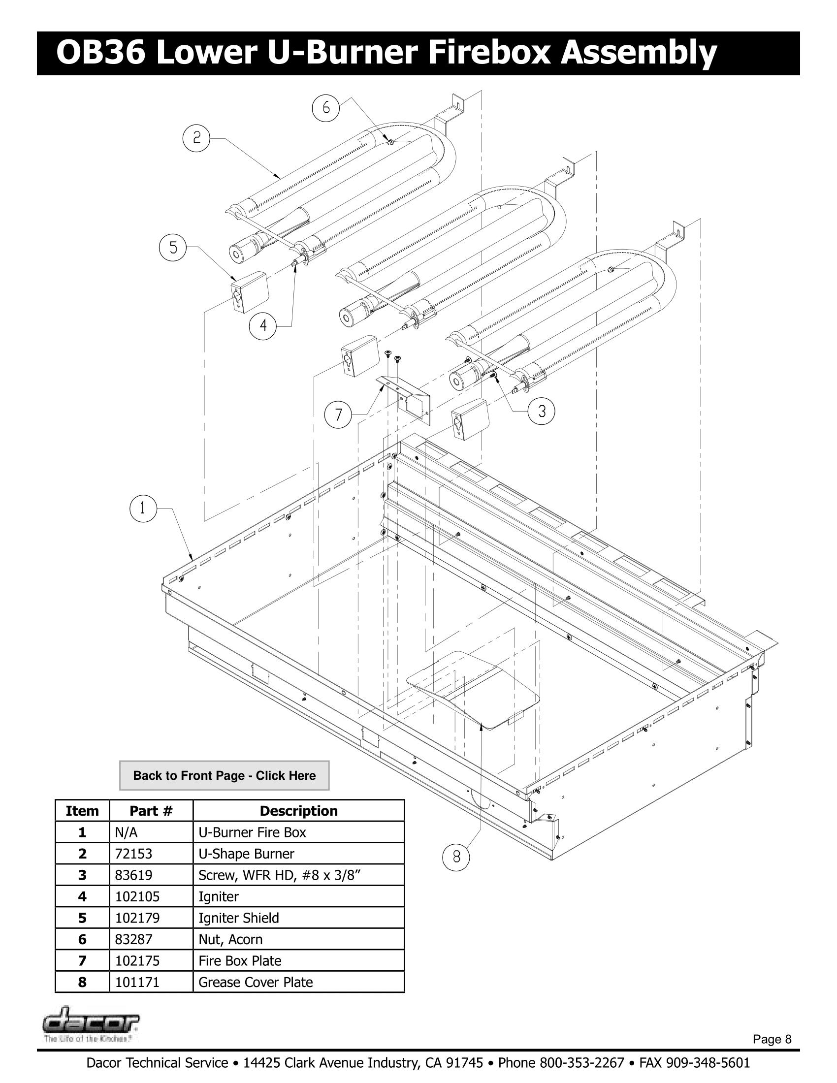 Dacor OB36 Lower U-Burner Firebox Assembly Schematic