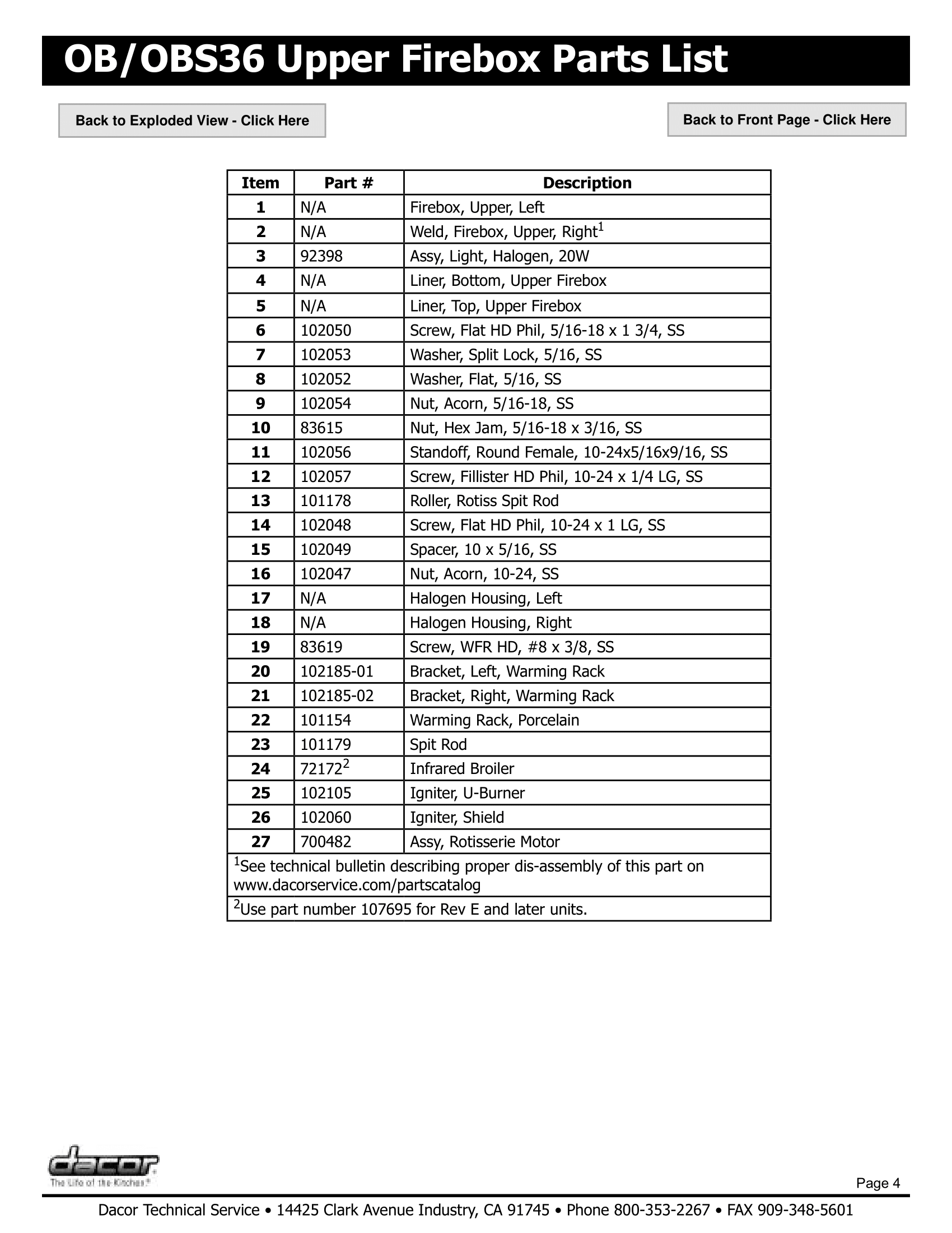 Dacor OB36 Upper Firebox Assembly Parts List