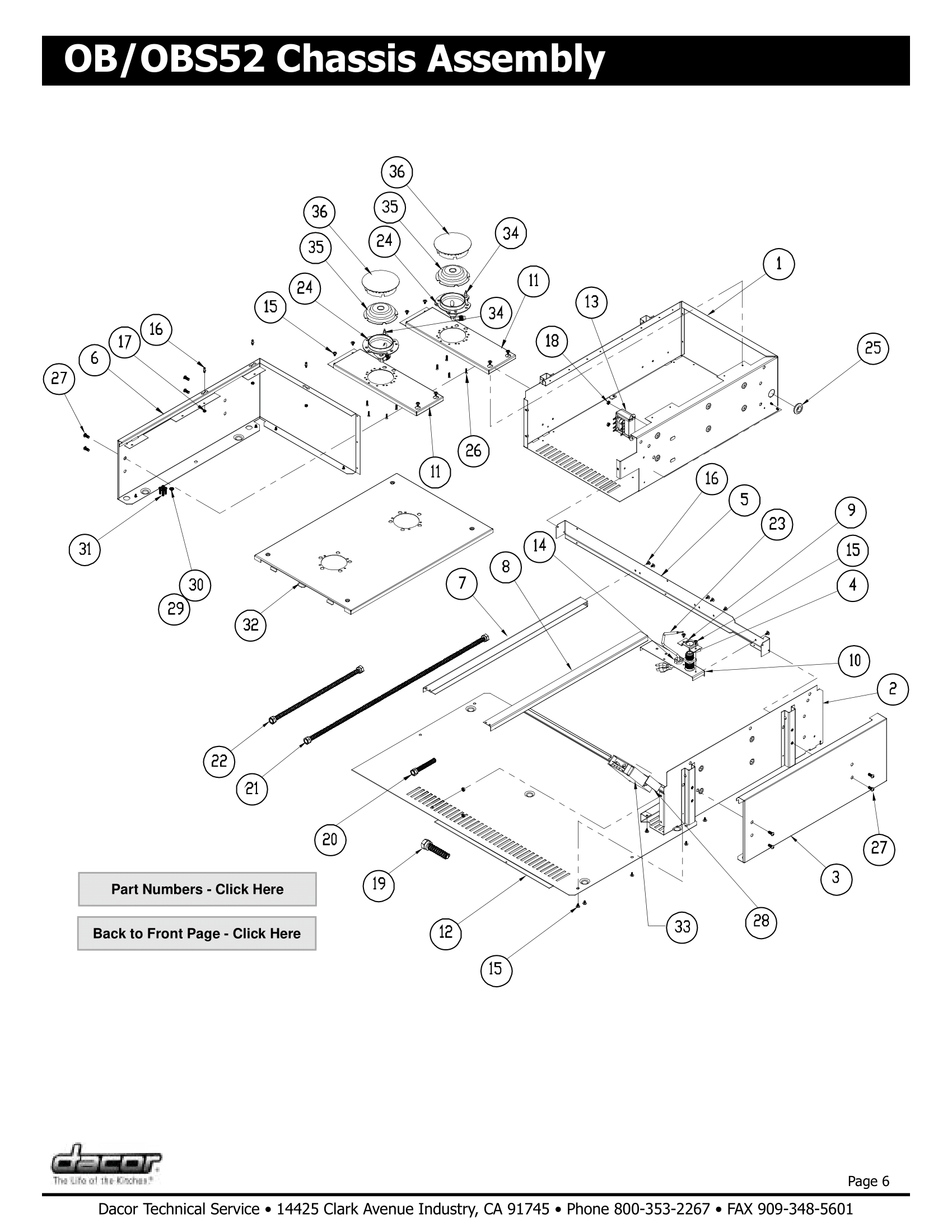 Dacor OB52 Chassis Assembly Schematic