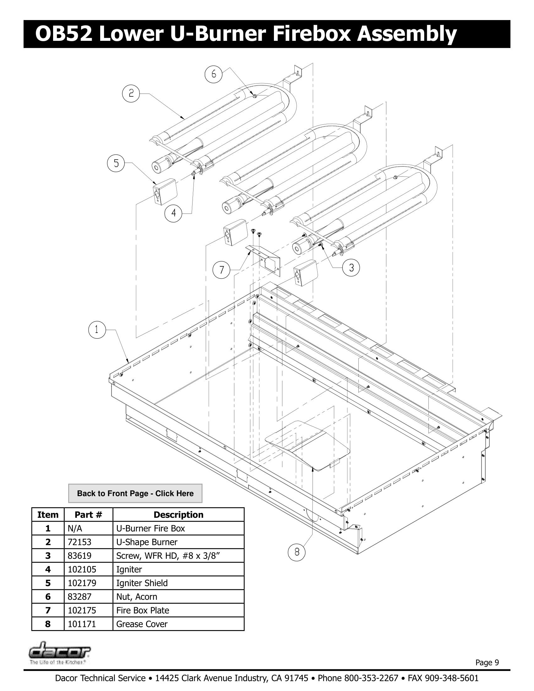 Dacor OB52 Lower U-Burner Firebox Assembly Schematic