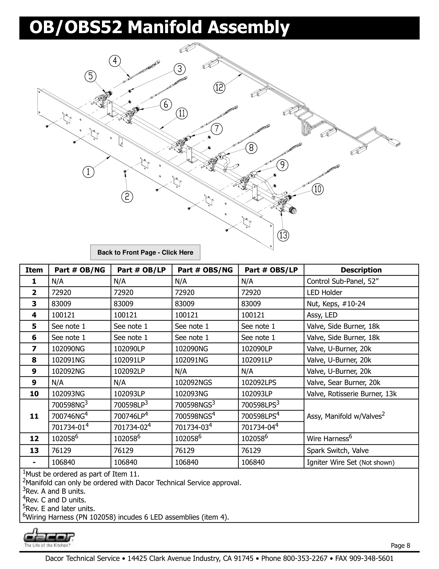 Dacor OB52 Manifold Assembly Schematic