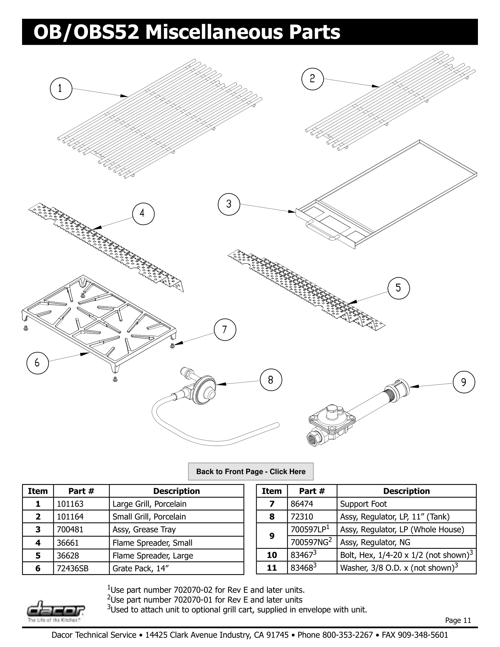 Dacor OB52 Miscellaneous Parts Schematic
