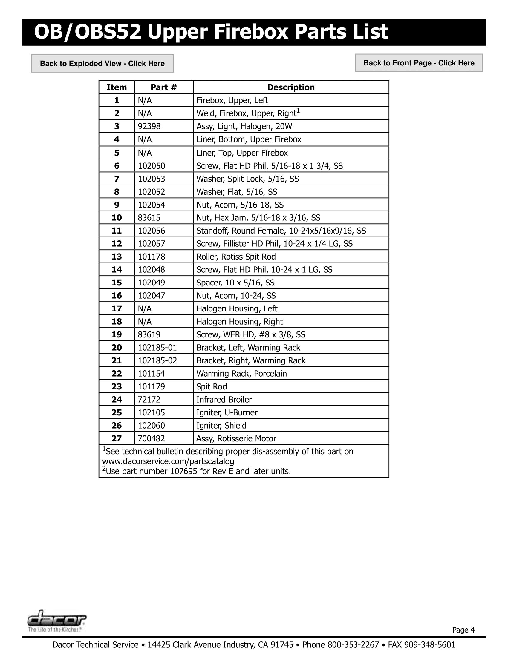 Dacor OB52 Upper Firebox Parts List