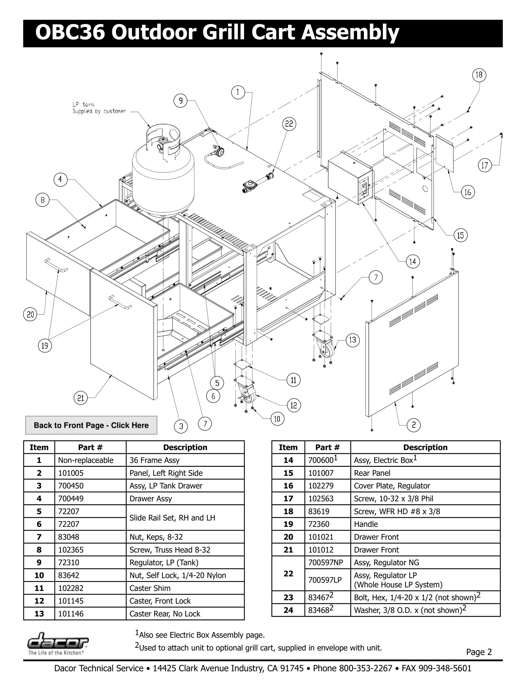 Dacor OBC36 Assembly Schematic