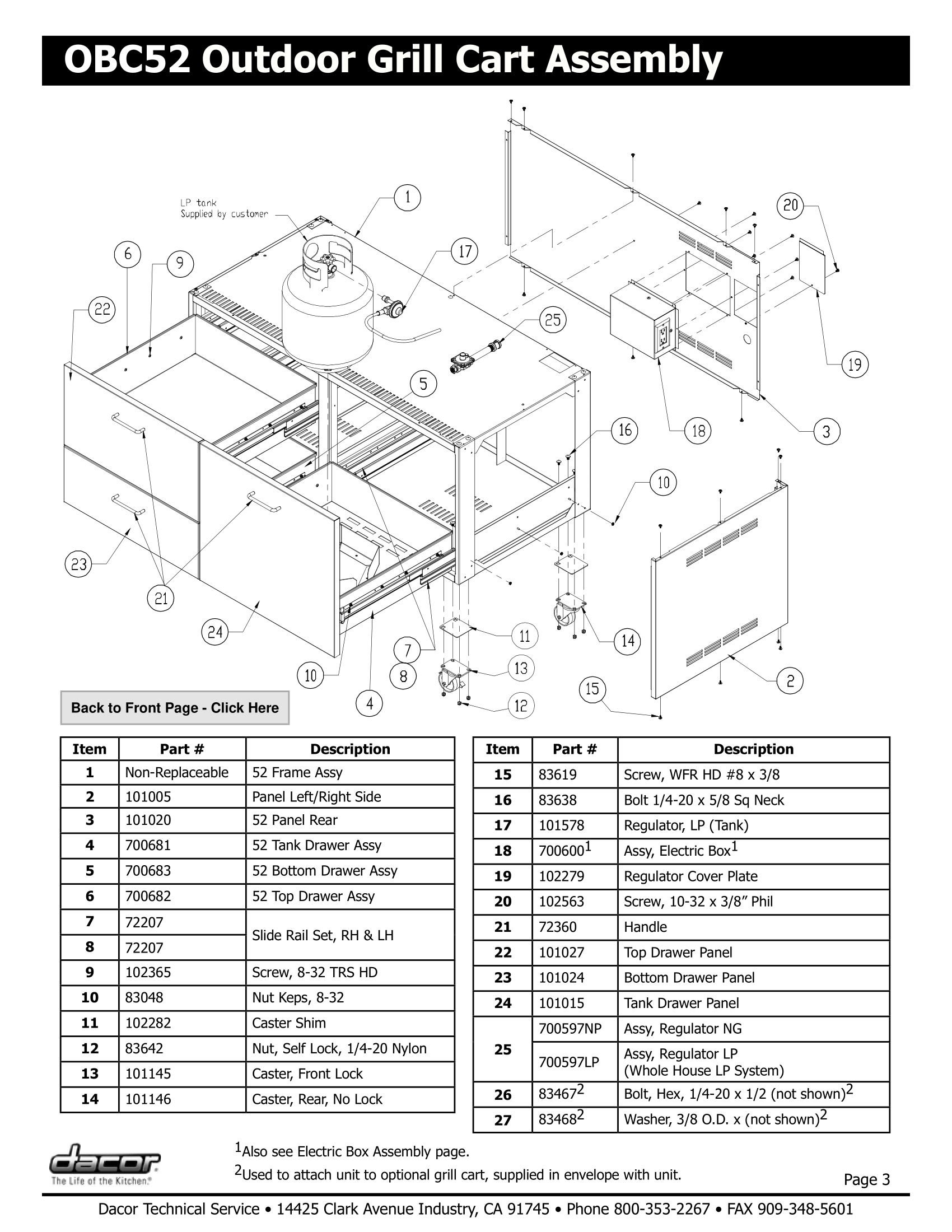 Dacor OBC52 Assembly Schematic