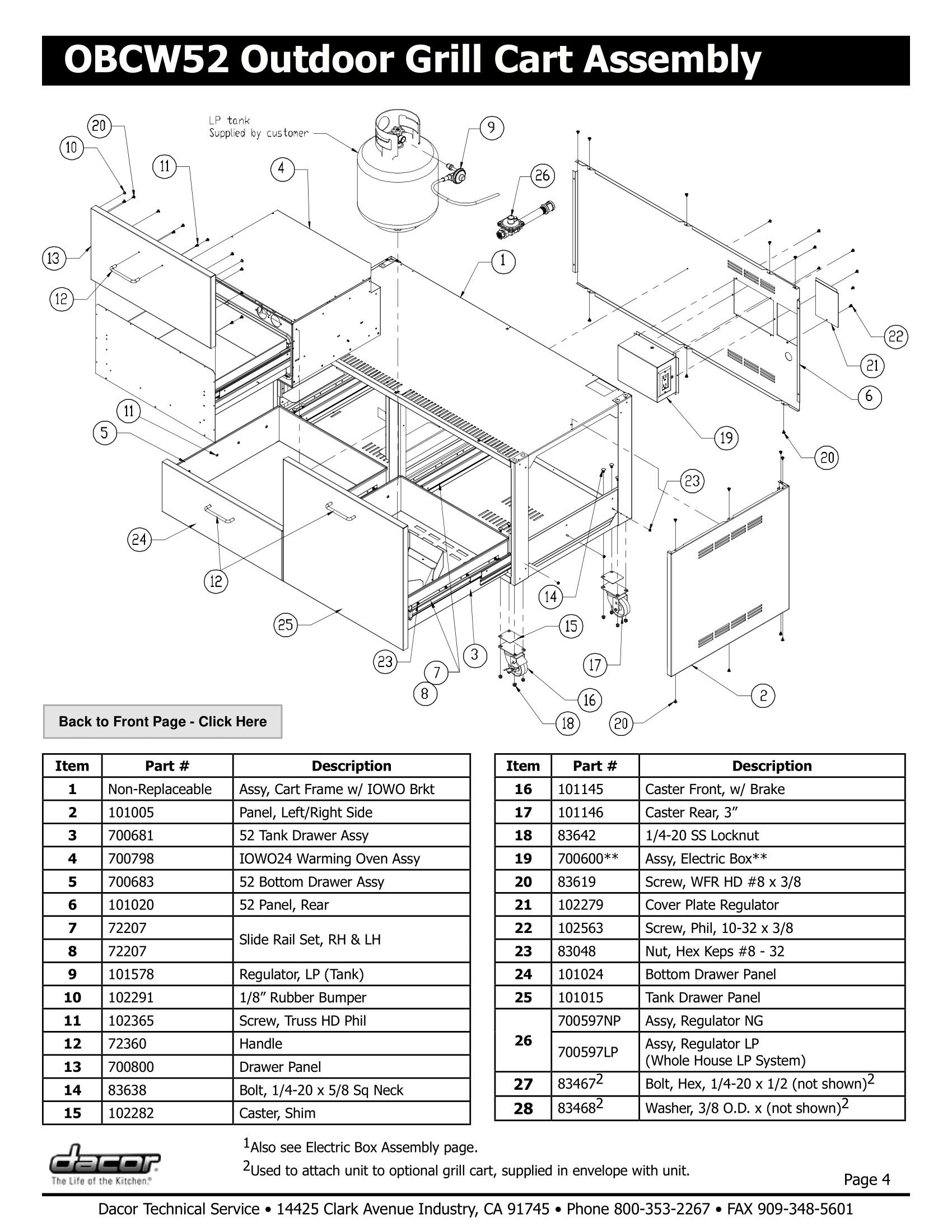 Dacor OBCW52 Assembly Schematic