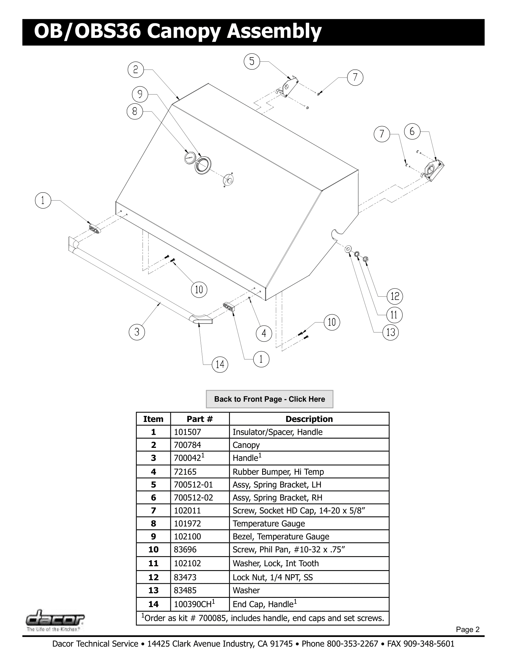 Dacor OBS36 Canopy Assembly Schematic