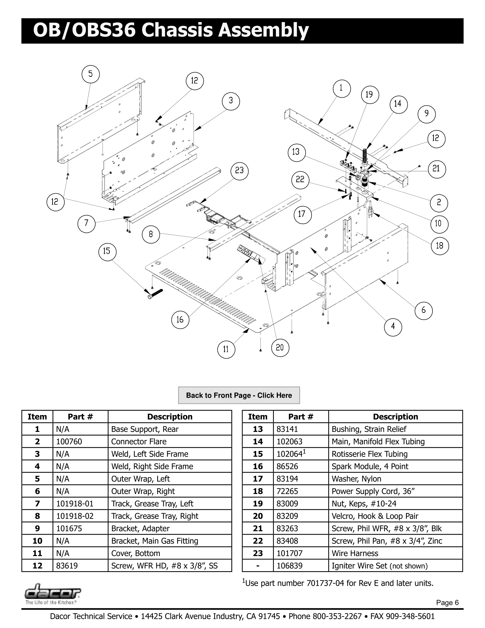Dacor OBS36 Chassis Assembly Schematic