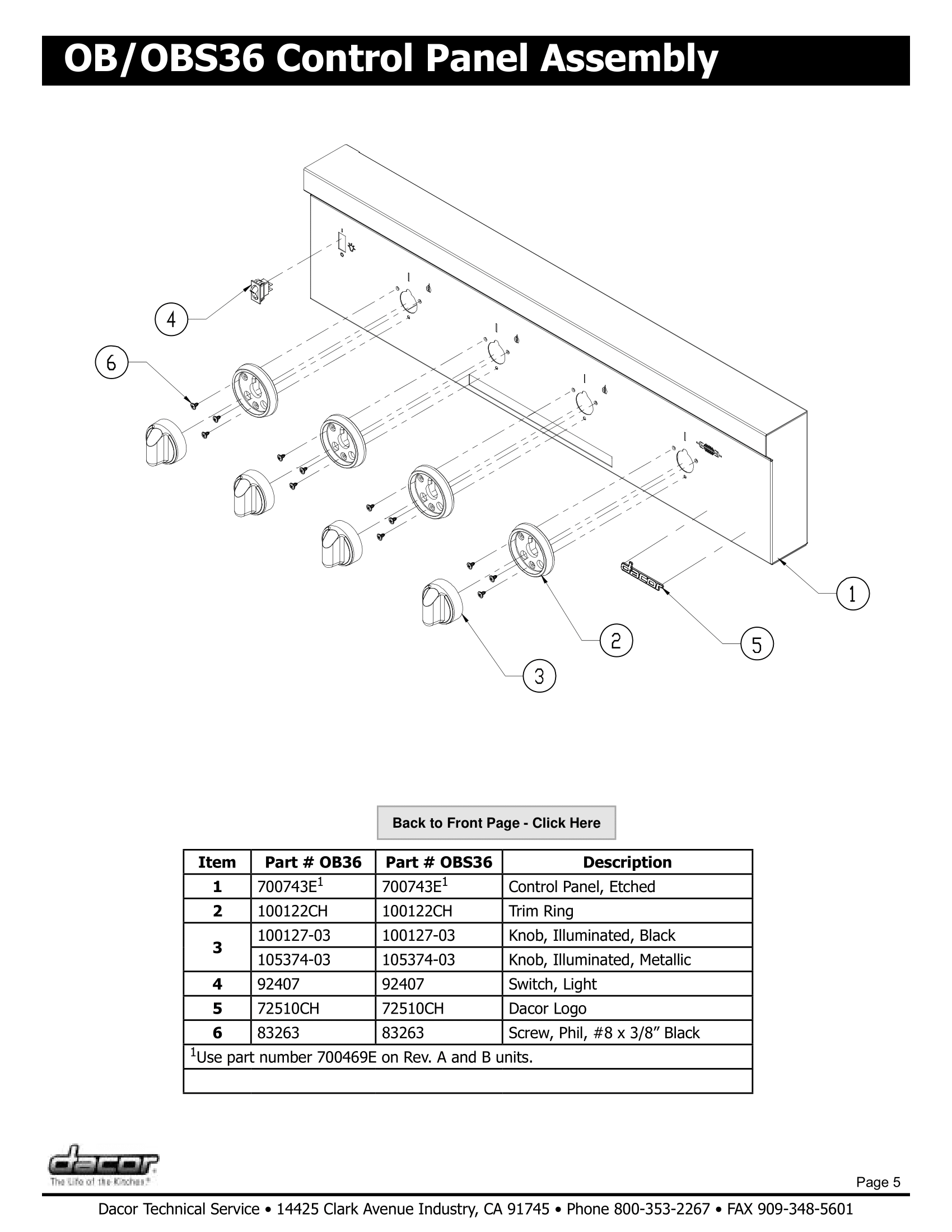 Dacor OBS36 Control Panel Assembly Schematic