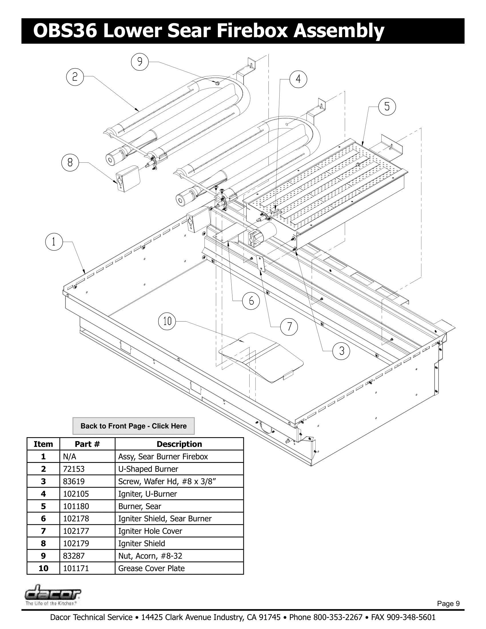 Dacor OBS36 Lower Sear Firebox Assembly Schematic