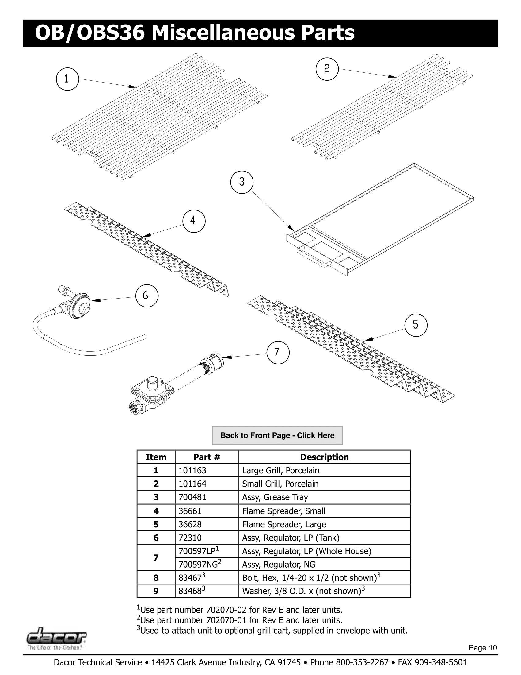 Dacor OBS36 Miscellaneous Parts Schematic