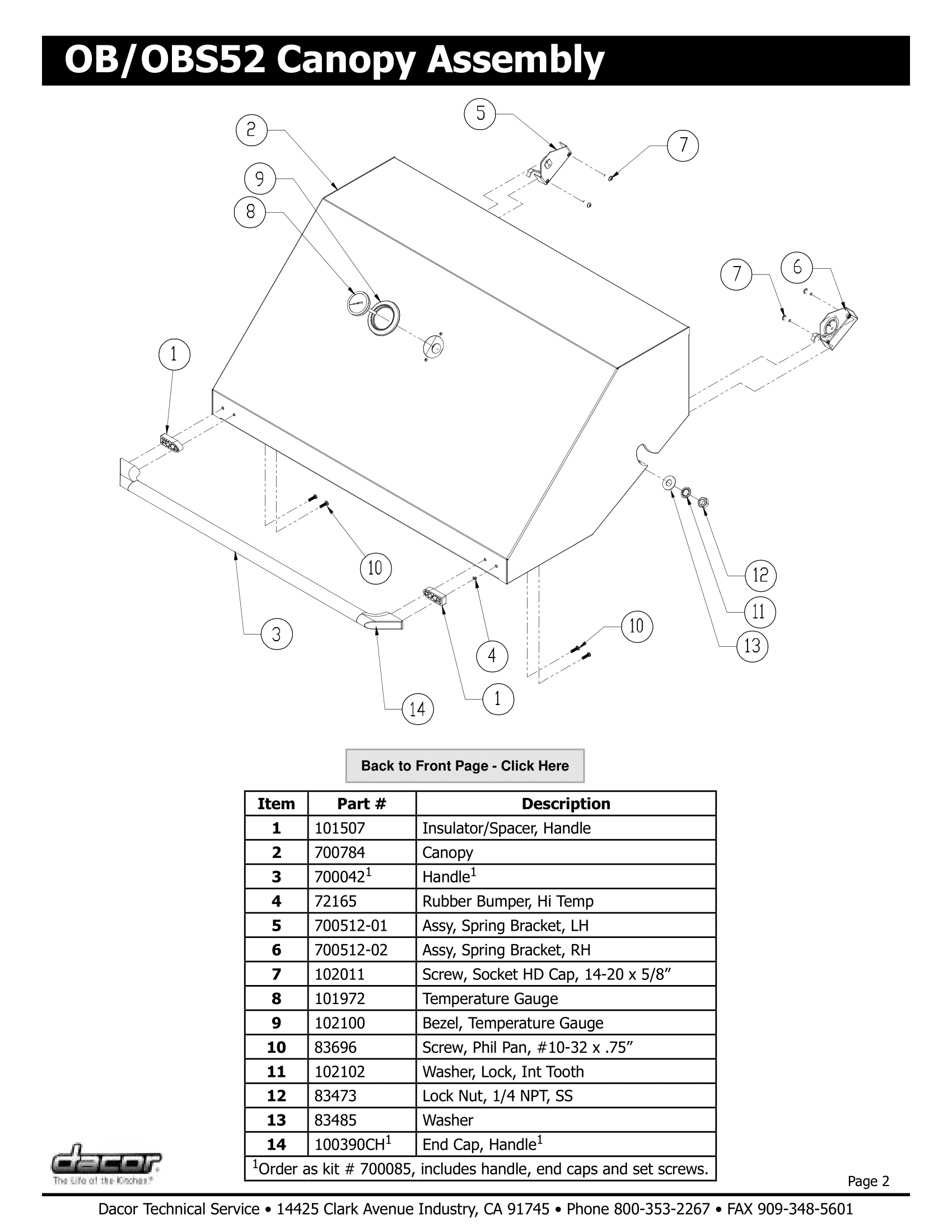 Dacor OBS52 Canopy Assembly Schematic