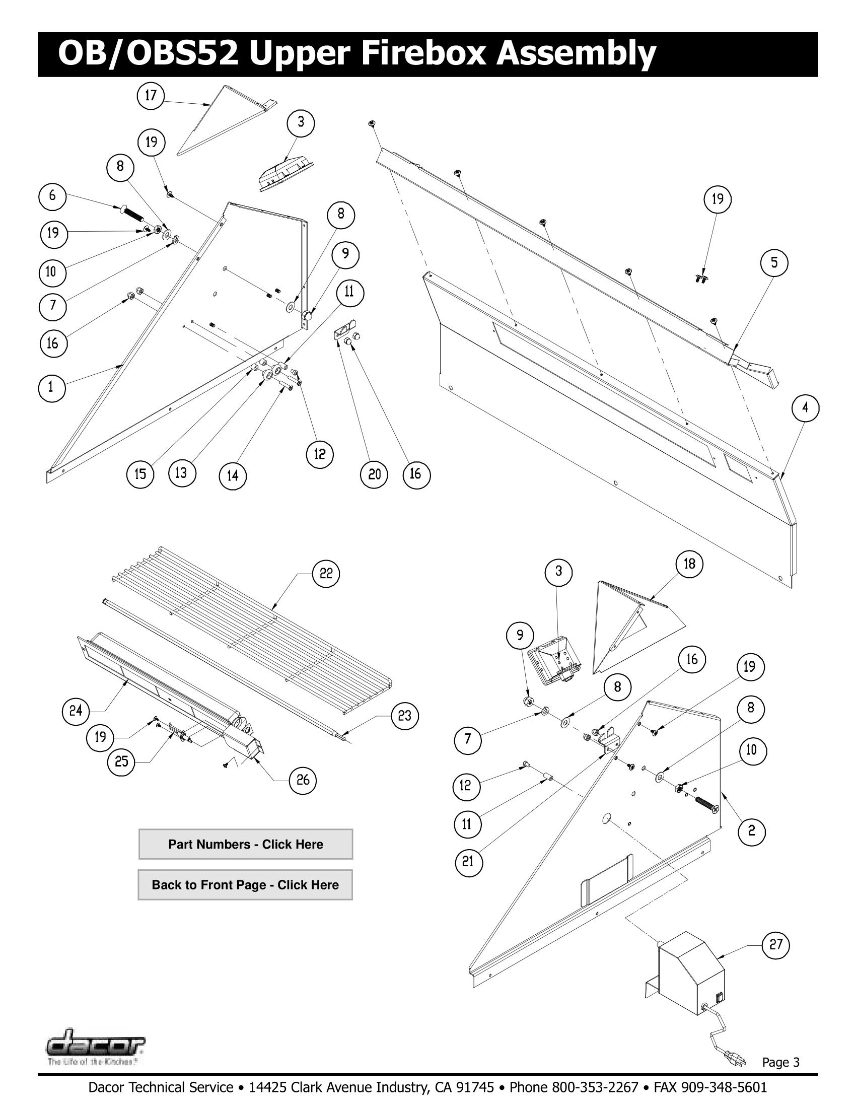 Dacor OBS52 Upper Firebox Assembly Schematic