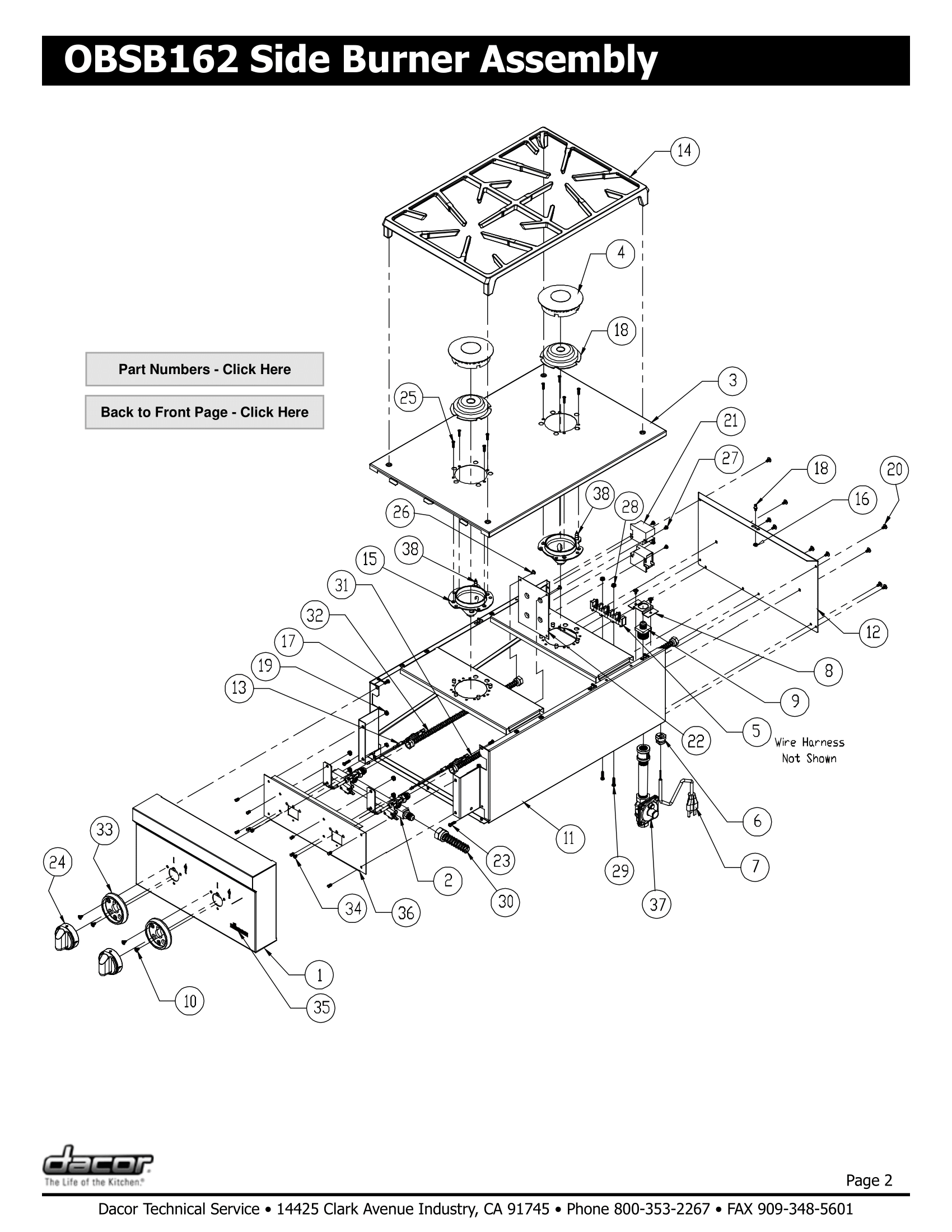 Dacor OBSB162 Assembly Schematic & Parts
