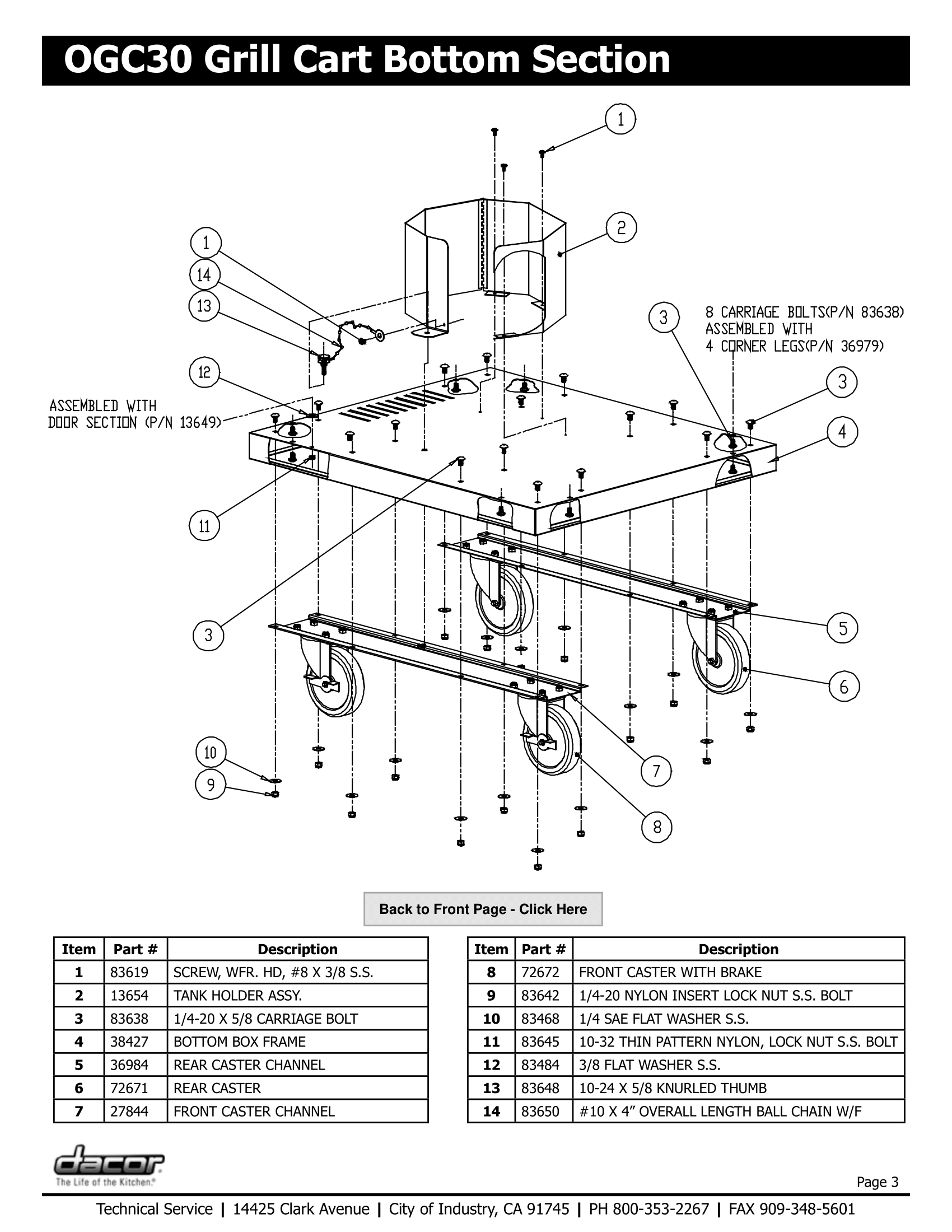 Dacor OGC30 Bottom Section Schematic
