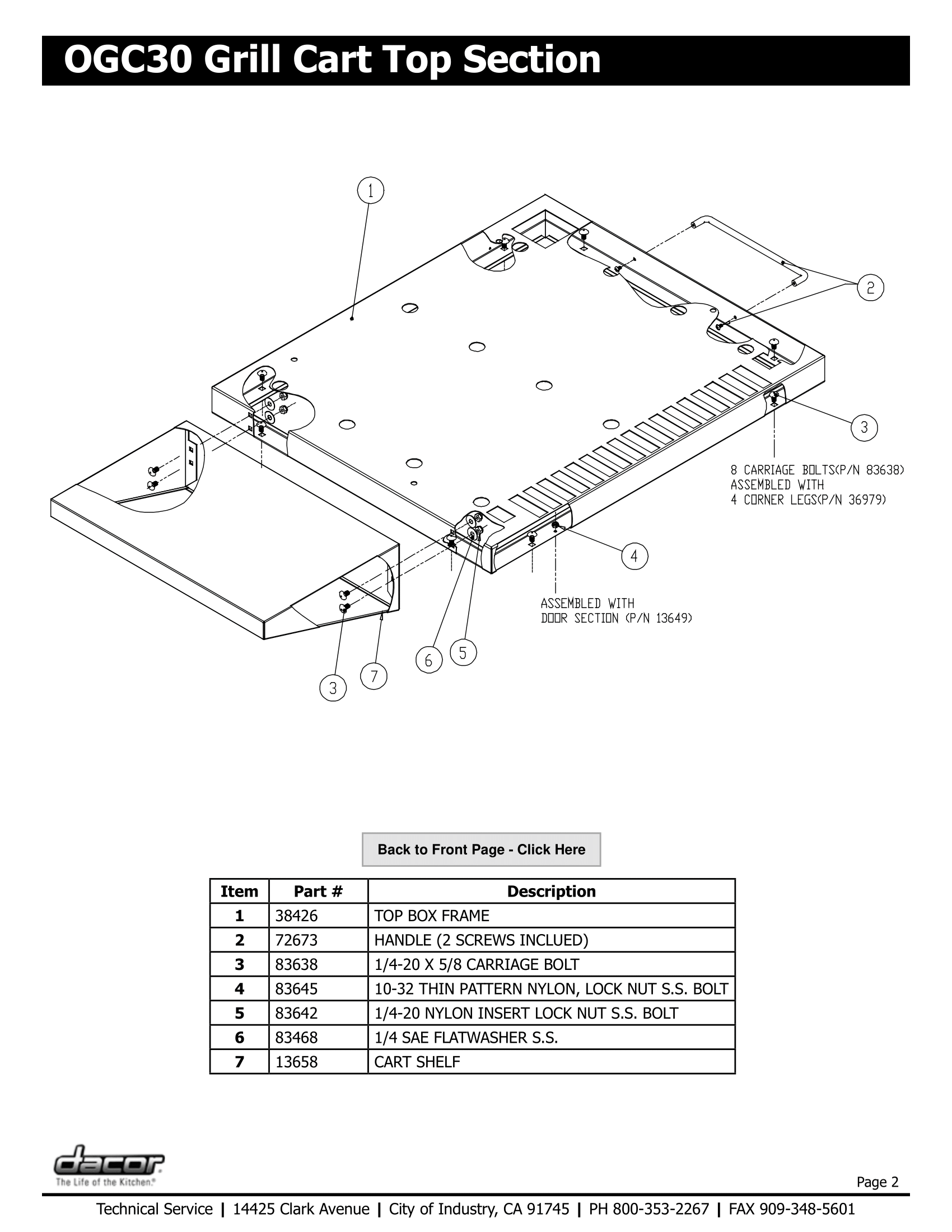 Dacor OGC30 Top Section Schematic