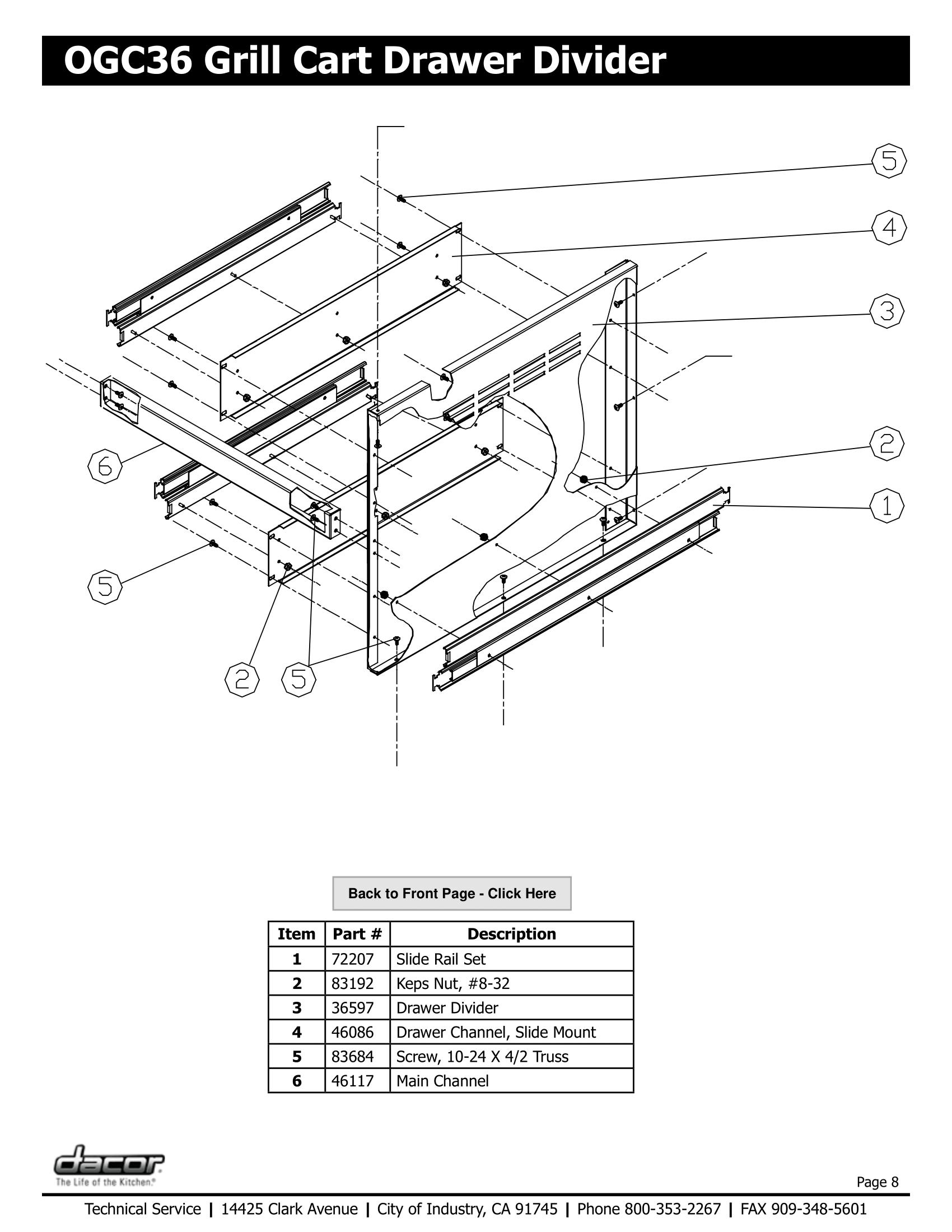 Dacor OGC36 Drawer Divider Schematic
