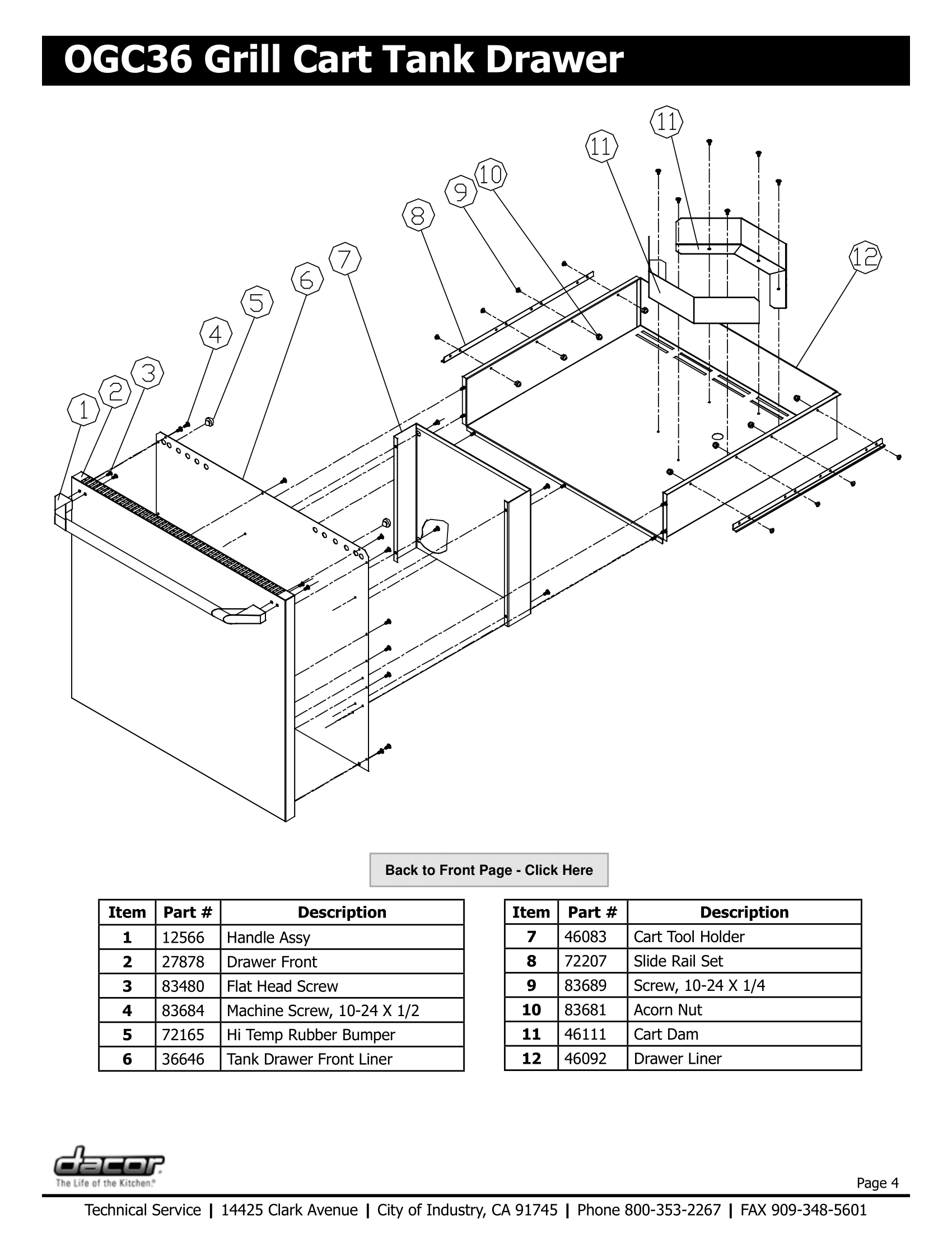 Dacor OGC36 Tank Drawer Schematic