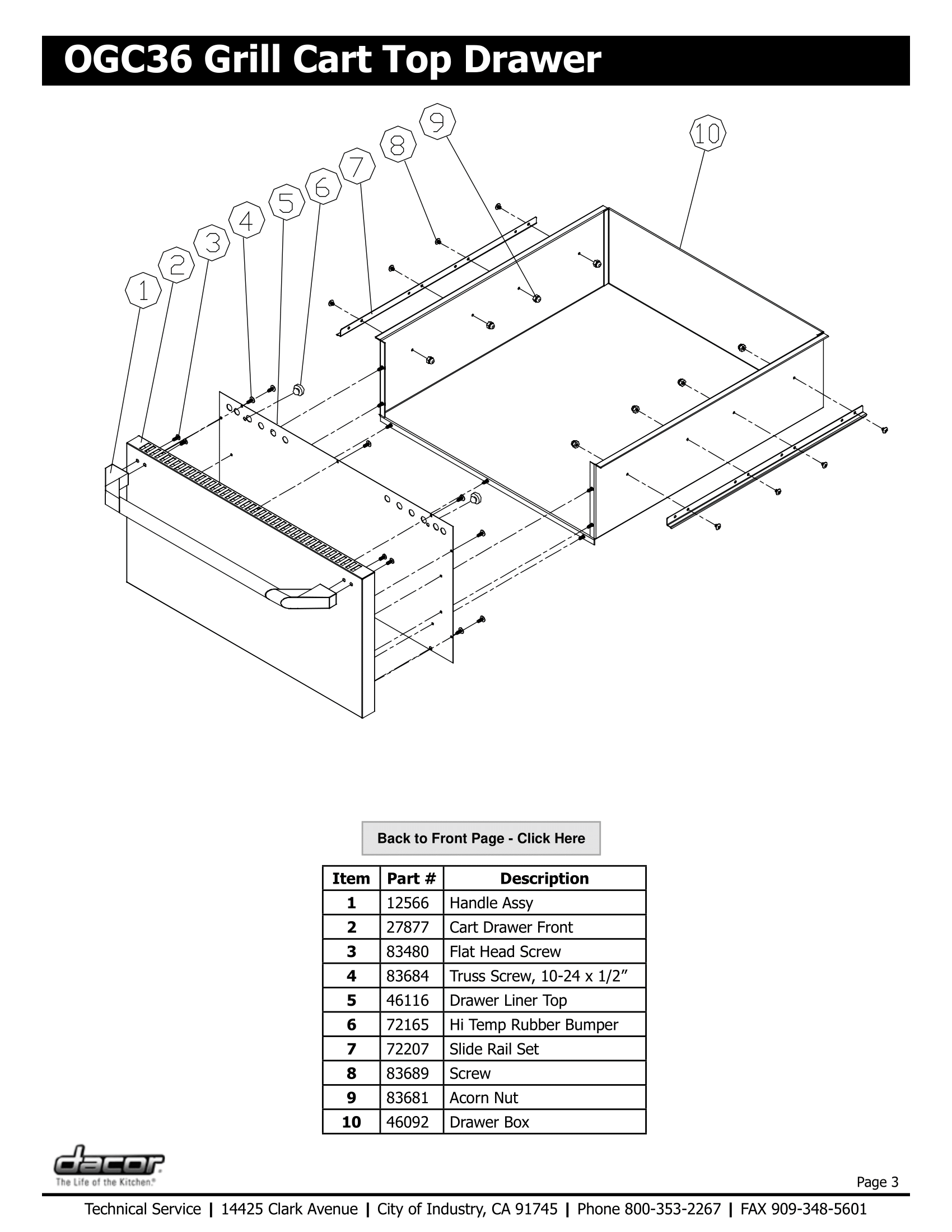 Dacor OGC36 Top Drawer Schematic