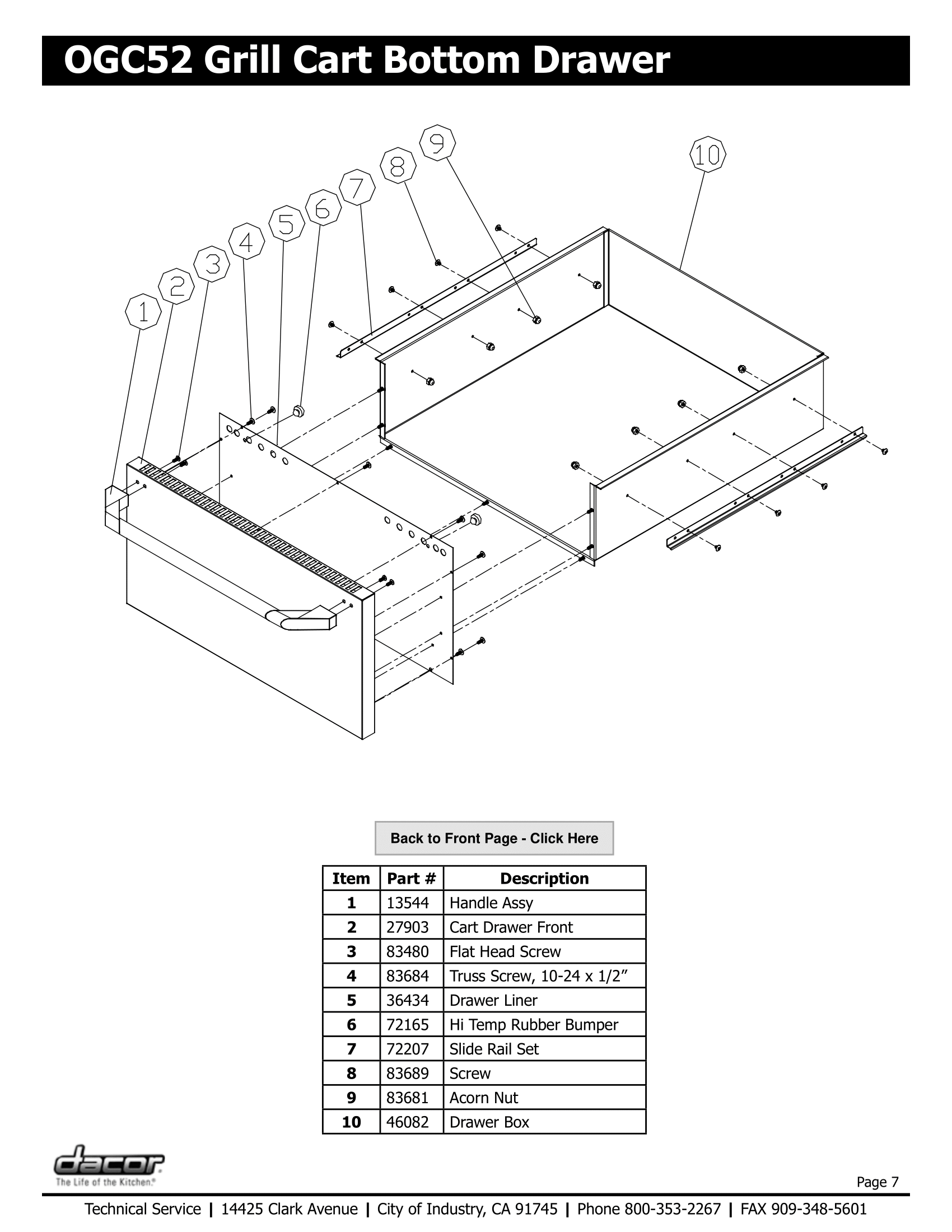 Dacor OGC52 Bottom Drawer Schematic