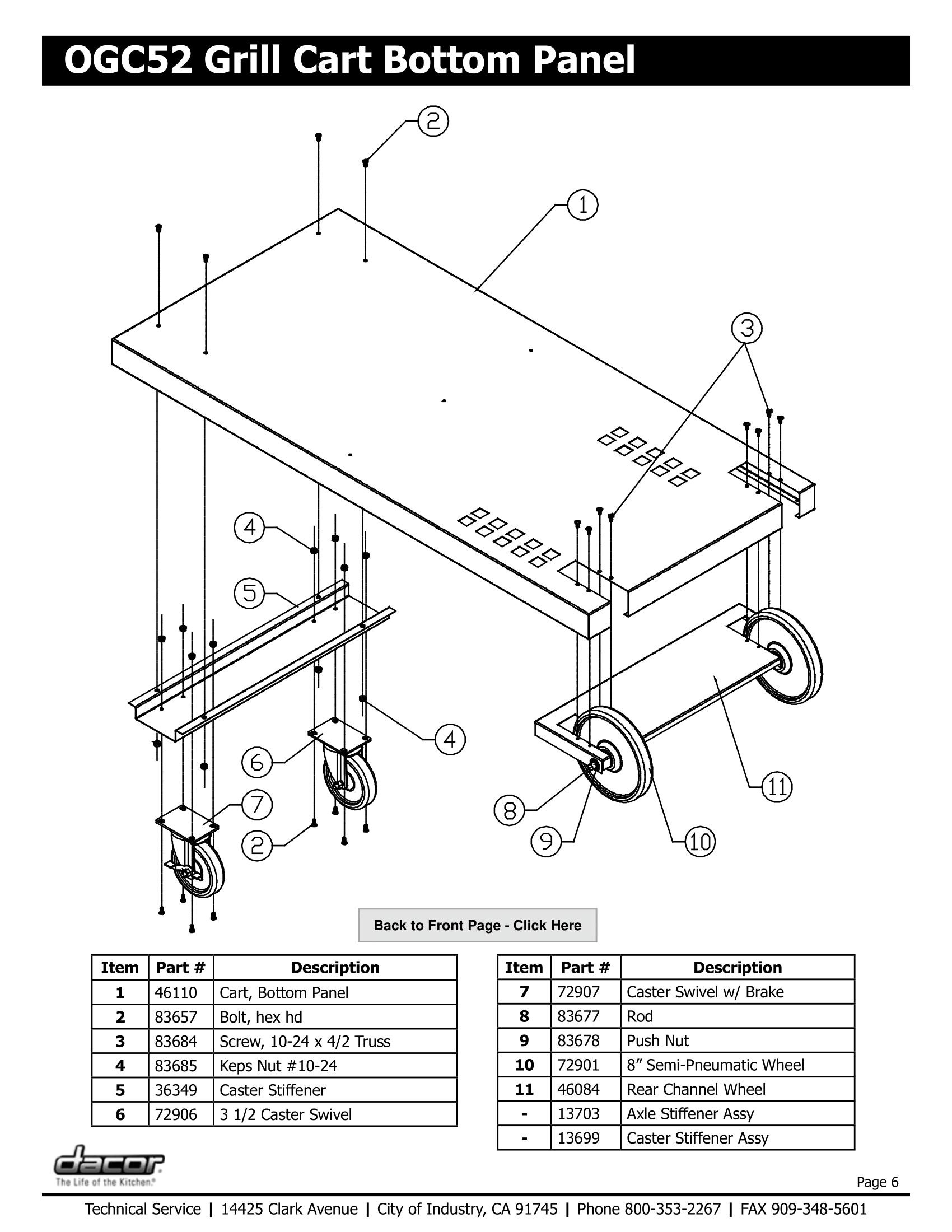 Dacor OGC52 Bottom Panel Schematic