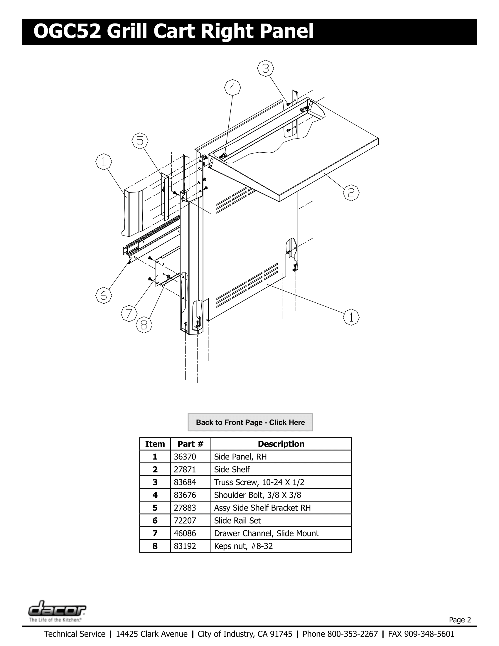 Dacor OGC52 Right Panel Schematic