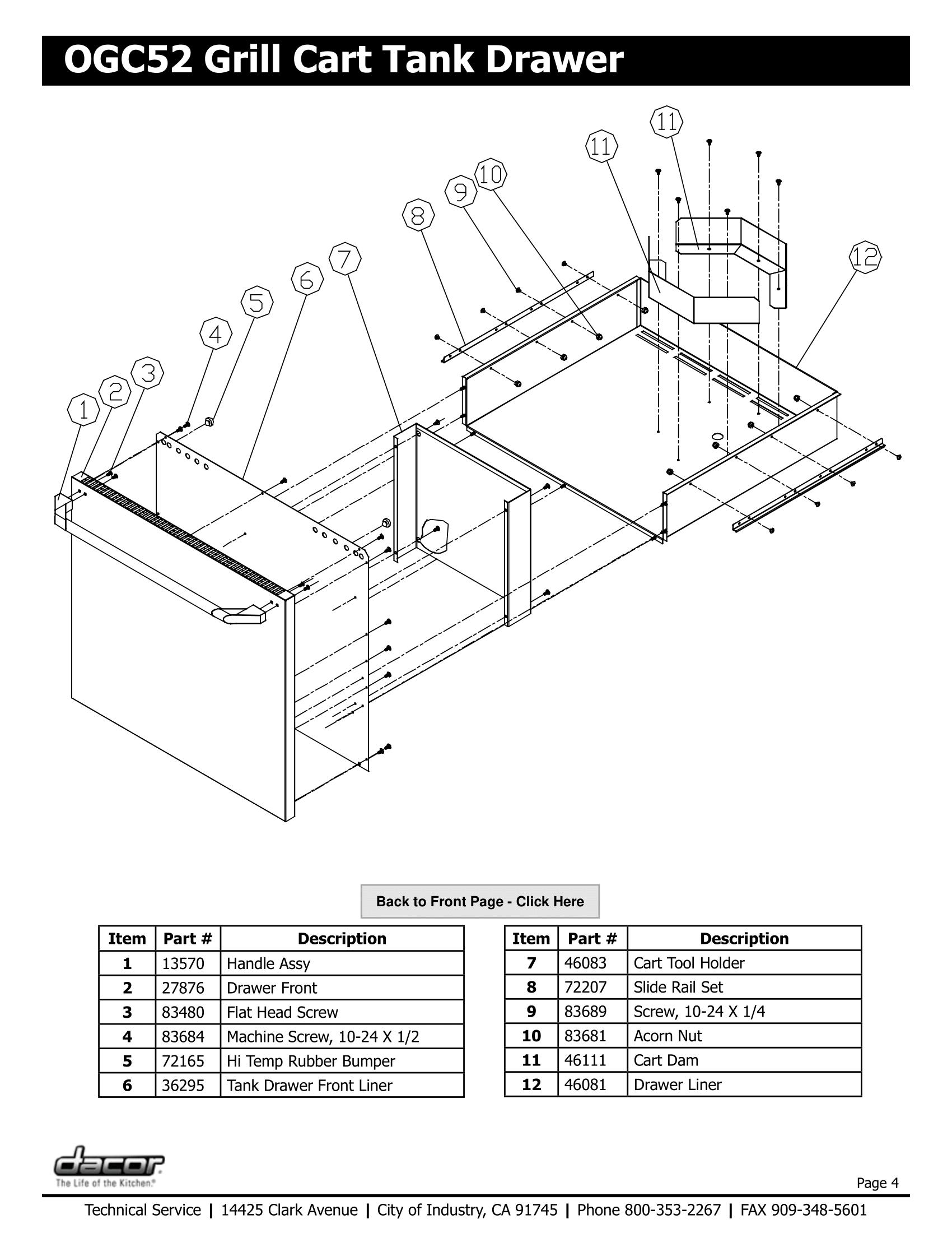 Dacor OGC52 Tank Drawer Schematic