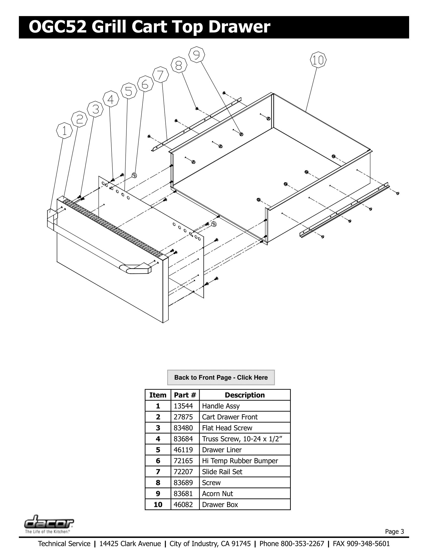 Dacor OGC52 Top Drawer Schematic