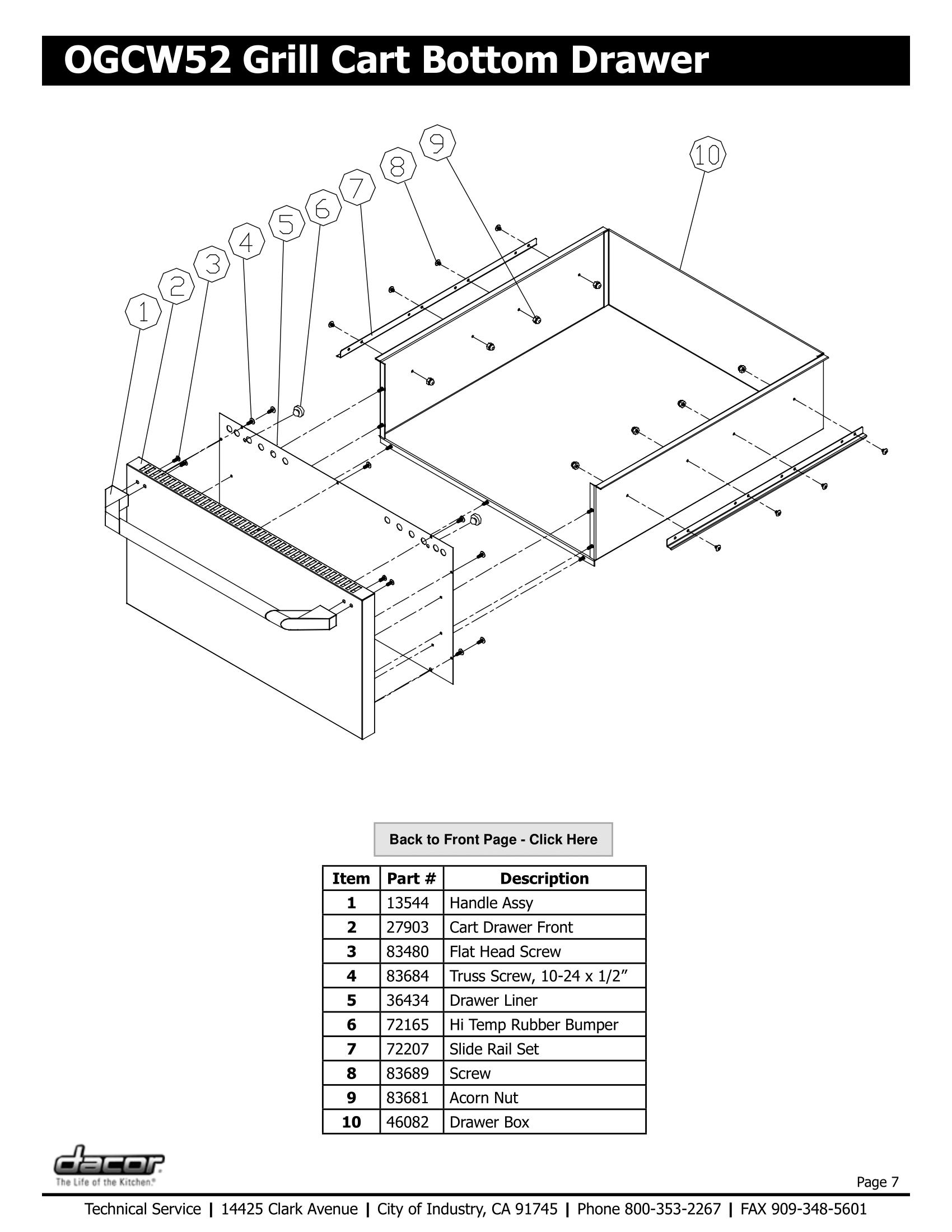 Dacor OGCW52 Bottom Drawer Schematic