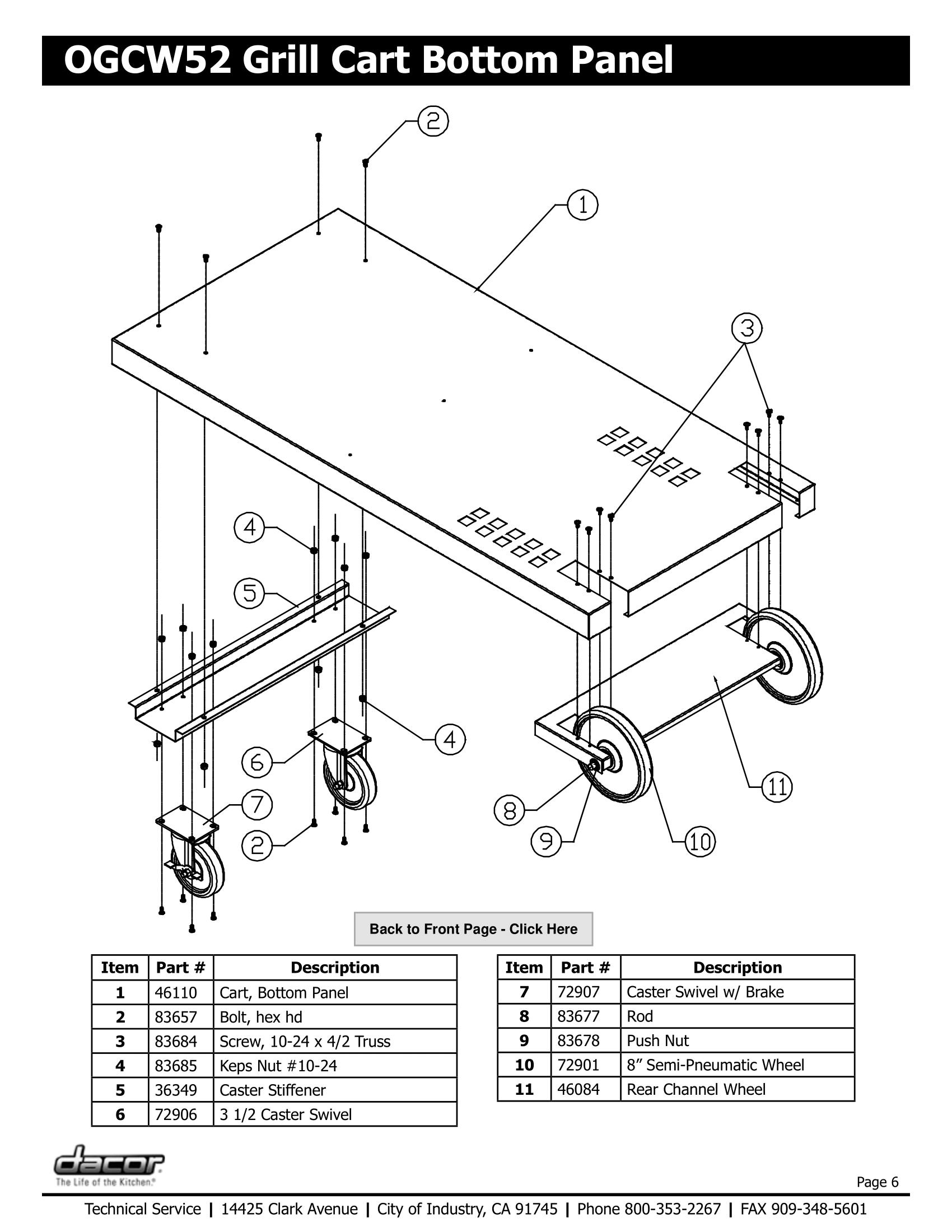 Dacor OGCW52 Bottom Panel Schematic