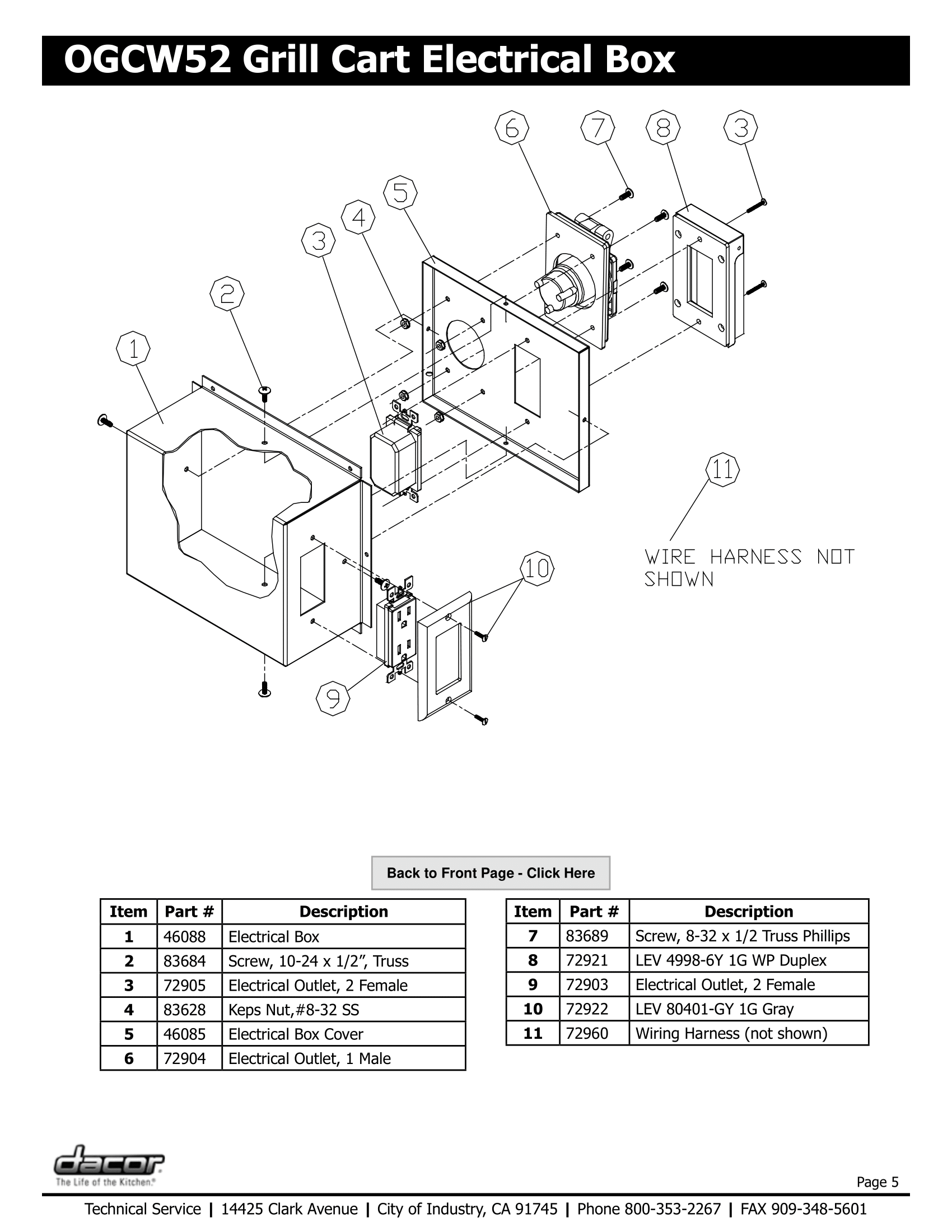 Dacor OGCW52 Electrical Box Schematic