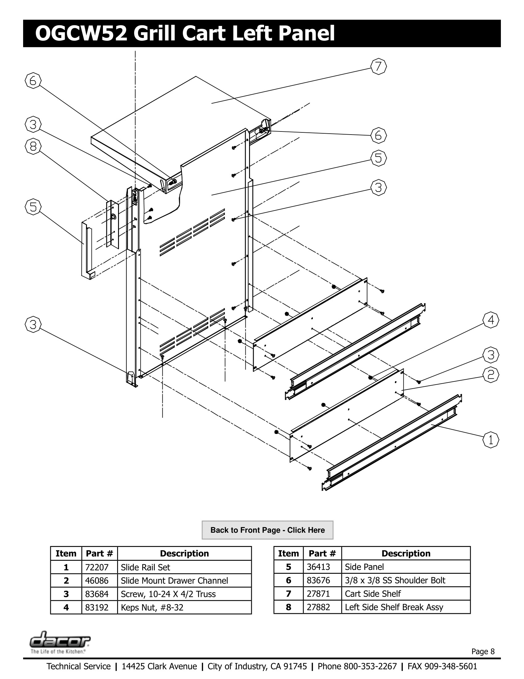 Dacor OGCW52 Left Panel Schematic