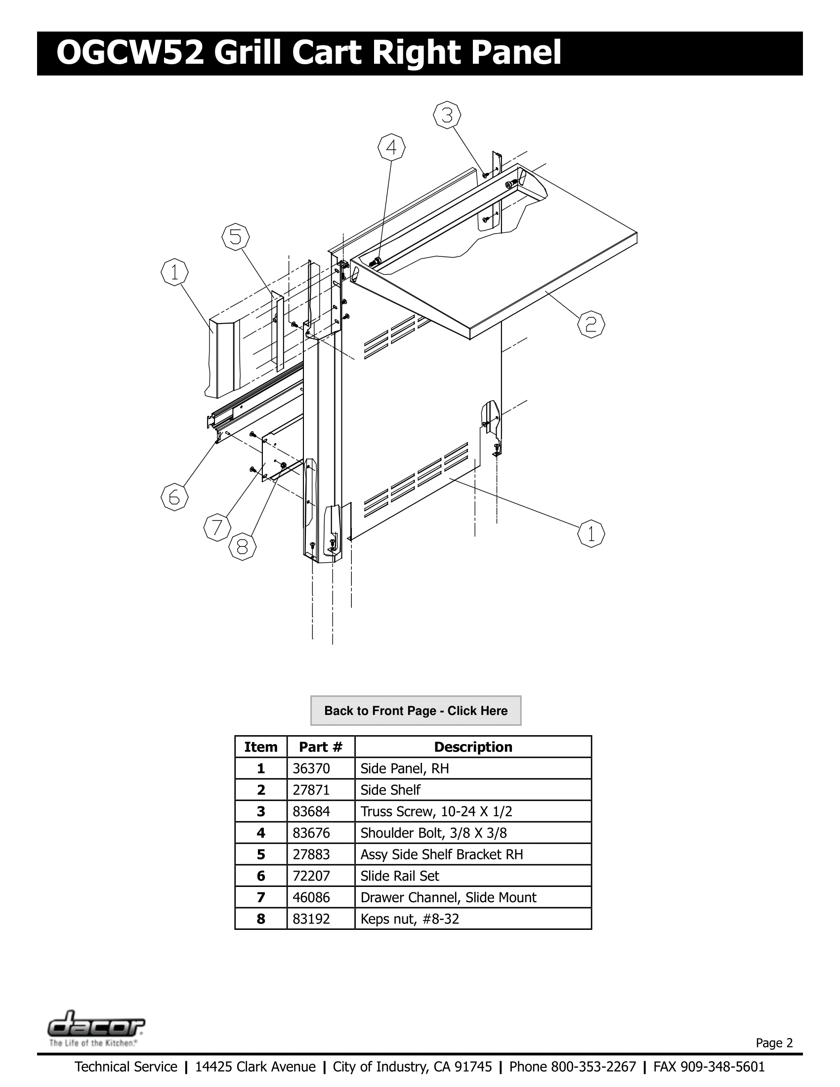 Dacor OGCW52 Right Panel Schematic