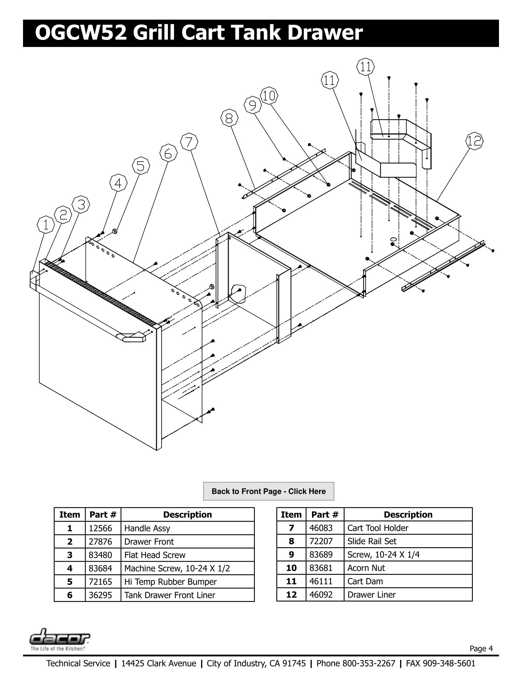 Dacor OGCW52 Tank Drawer Schematic