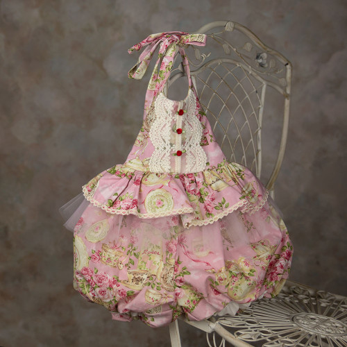 Florance Heirloom Lace Tulle Pink Floral Sunsuit Bubble Romper