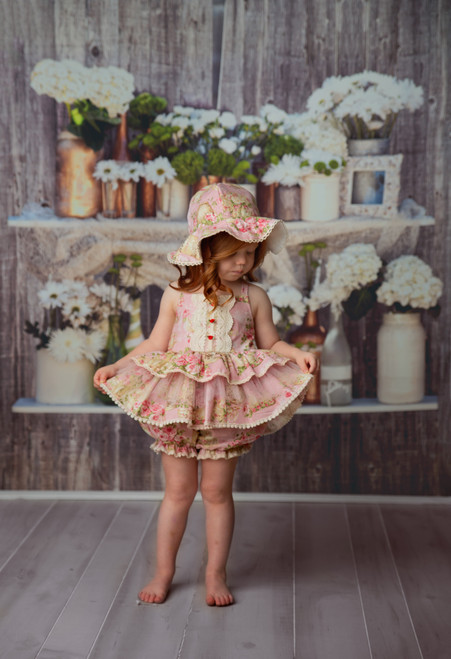 Florance Heirloom Lace Tulle Pink Floral Bloomer & Tank Top Set