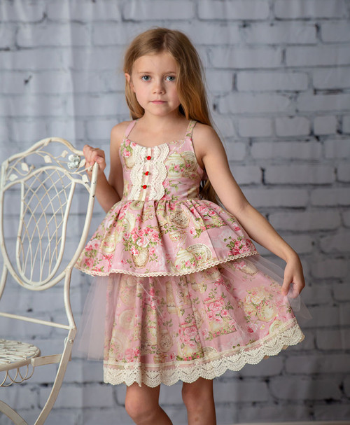 Florance Heirloom Lace Tulle Pink Floral Big Girl Dress
