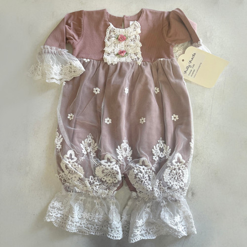 Margarette Infant Girls Lace Coverall