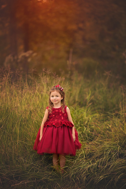 Frilly Frocks Exclusive Red Valentine's Day Party Dress for Girls