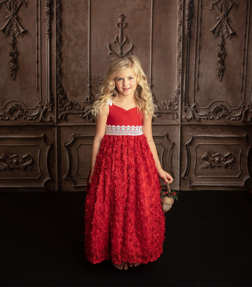 Frilly Frocks Exclusive Red Christmas Party Dress for Girls 2t-10